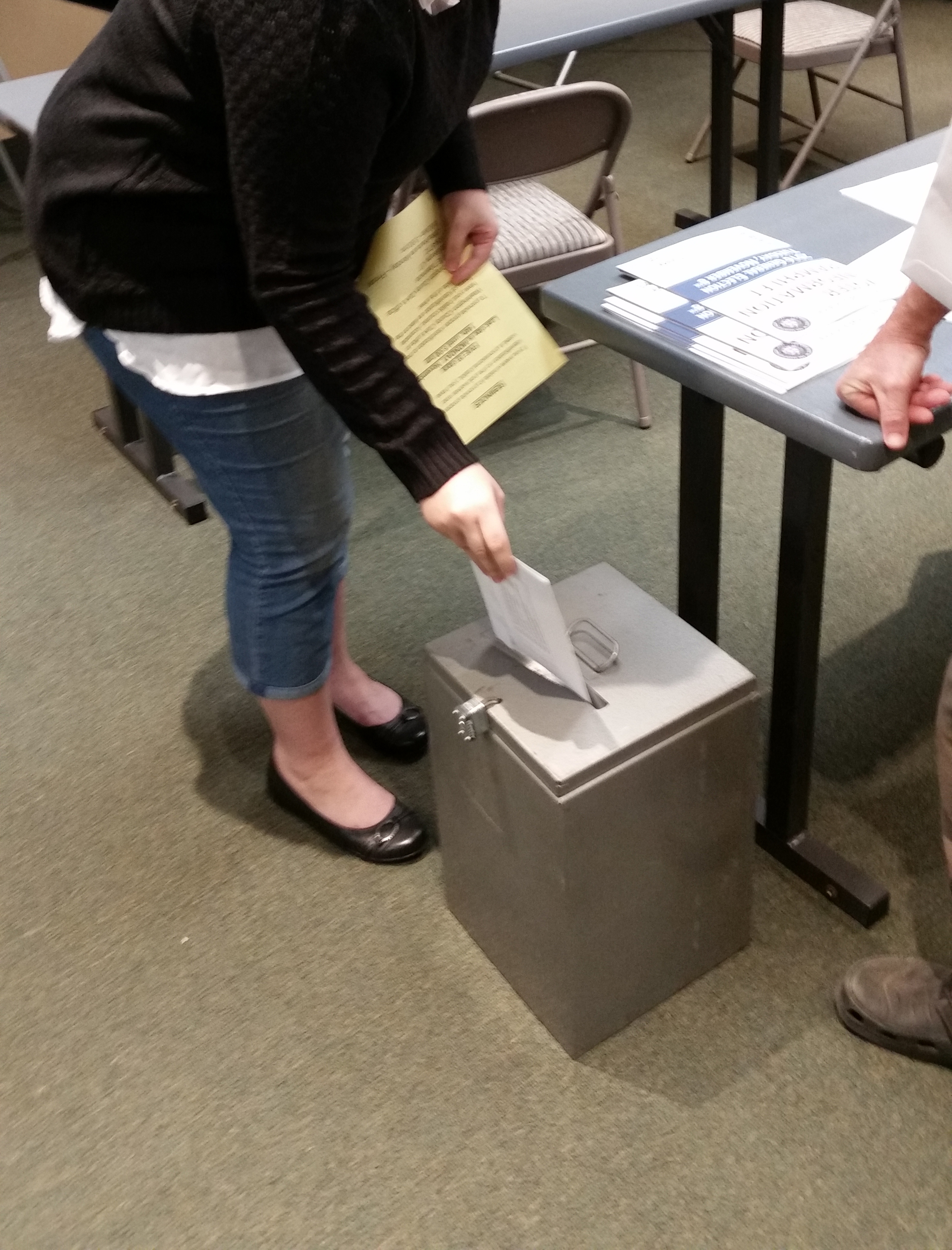 A voter deposits her paper ballot in a locked ballot box at the polling location in the Park Services Building in St. George during the 8 a.m. hour Tuesday. Electronic voting machines were out of order. St. George, Utah, Nov. 8, 2016   Photo by Brett Barrett, St. George News
