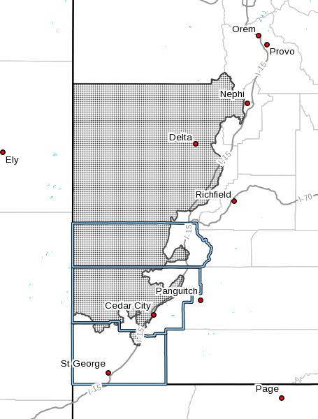 Dots denote advisory area for wind in Utah at radar time 4:57 a.m. Wednesday, Nov. 16, 2016 | Map courtesy of the National Weather Service, St. George News