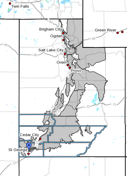 Dots denote advisory area for winter weather conditions in Utah at radar time 4:22 a.m. Wednesday, Nov. 16, 2016 | Map courtesy of the National Weather Service, St. George News