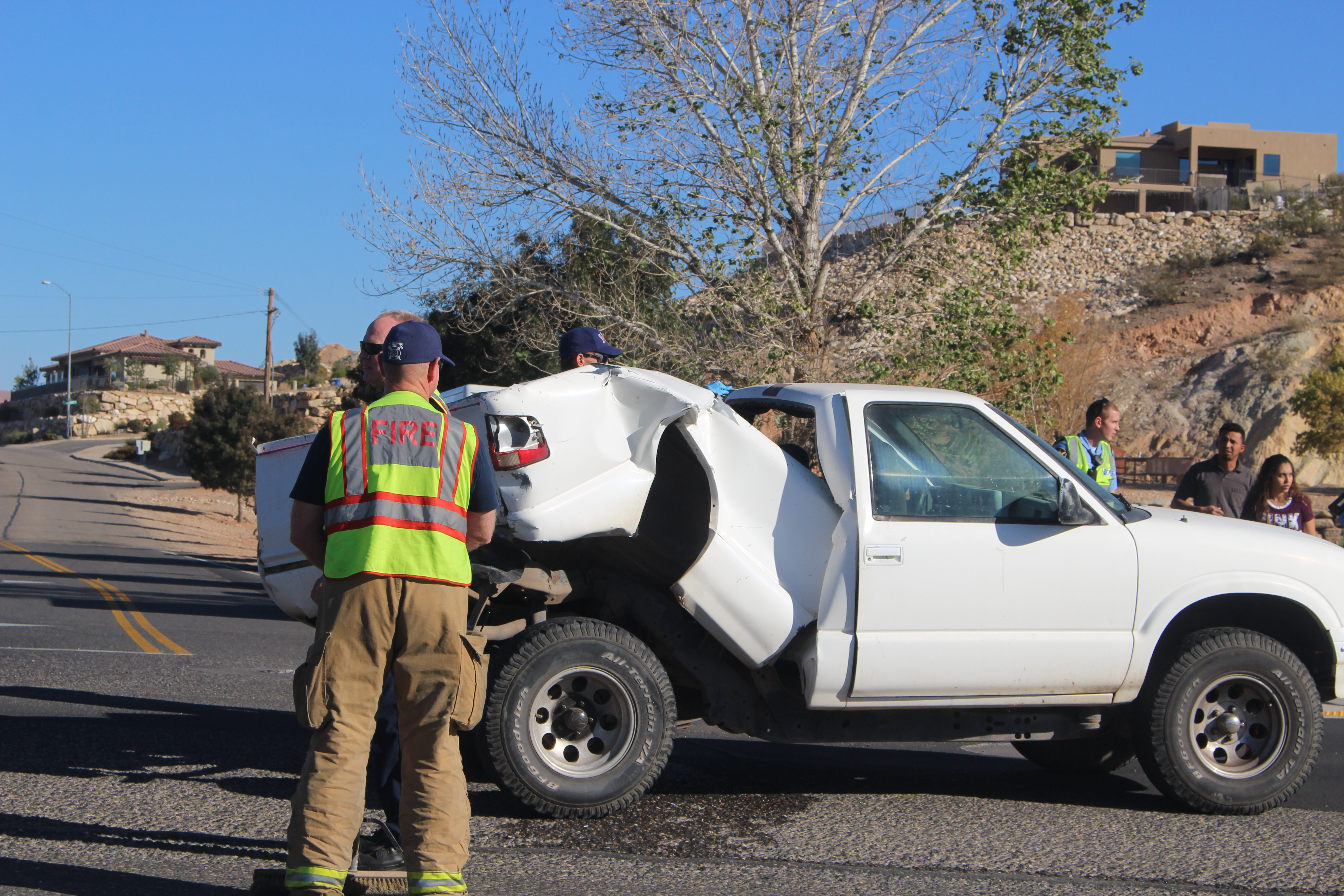 A compact Chevy truck site in the middle of River Road. The vehicle had been hit in the rear by a full-size Dodge Ram pickup. St. George, Utah, Nov. 14, 2016 | Photo by Ric Wayman, St. George News