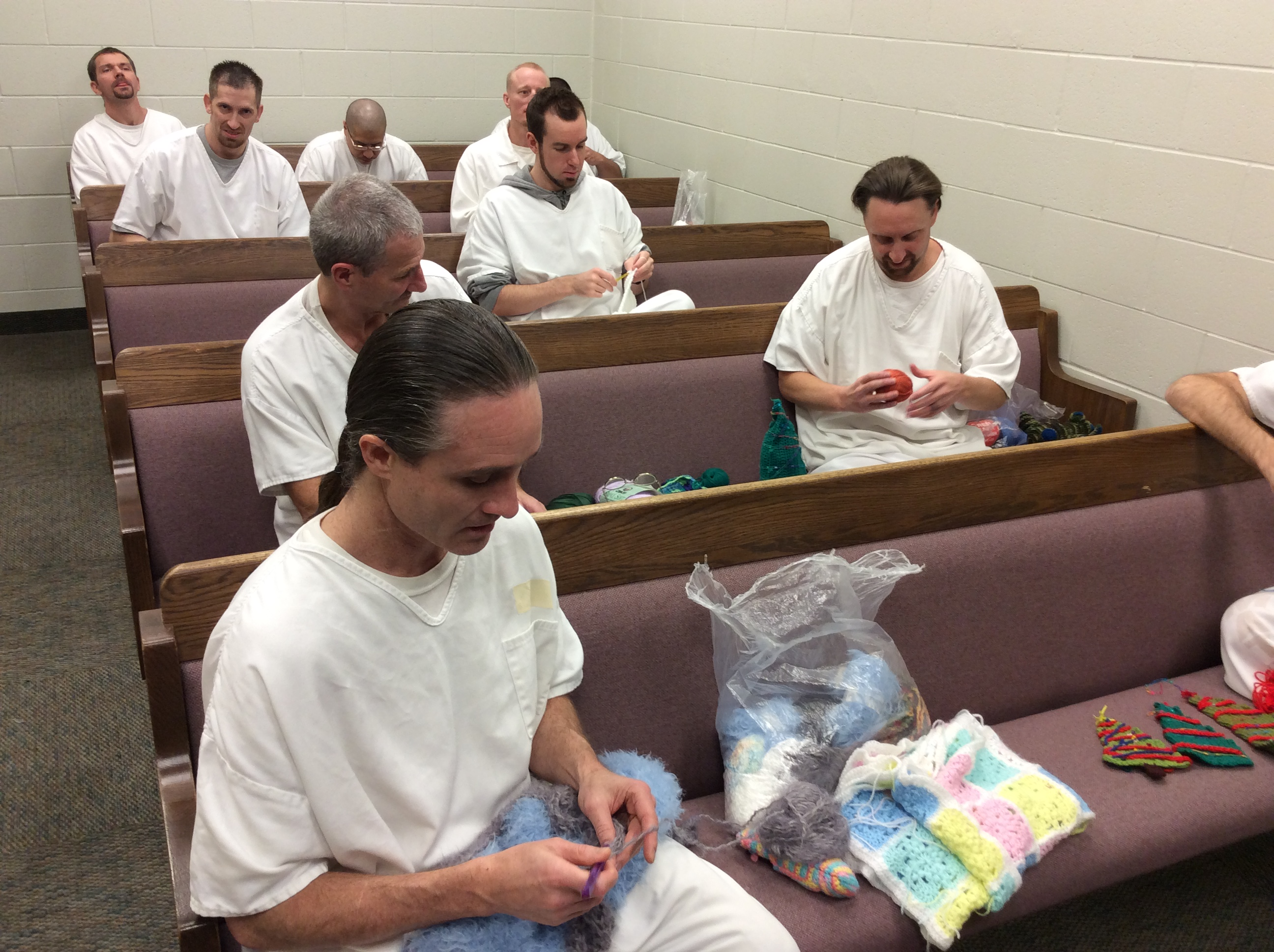 Inmates work on their crochet projects at Kane County Jail, Dec. 23, 2016 | Photo by Cami Cox Jim, St. George News