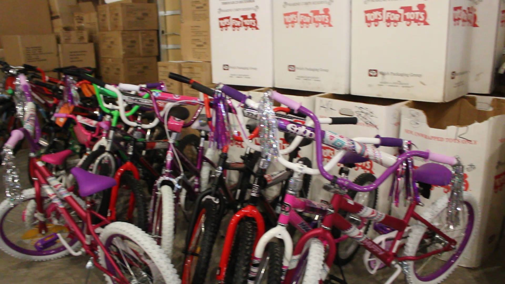 "Bicycles are lined up in a toy drive by Toys for Tots and Toys""R""Us and other contributors, St. George, Utah, Dec. 1, 2016 