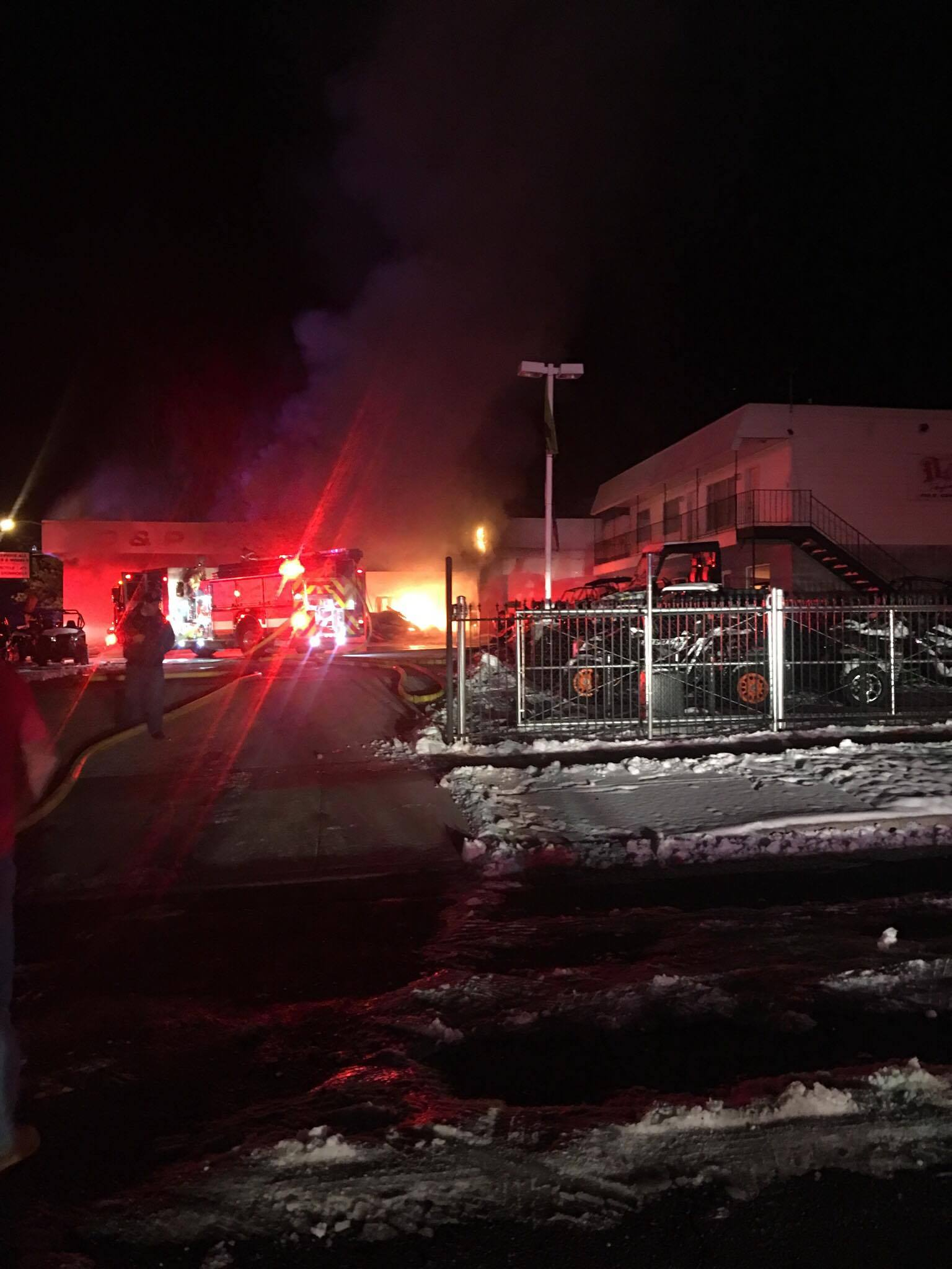 A fast-moving fire consumed the service garage at D & P Performance in Cedar City, Monday, Dec. 19, 2016, Cedar City, Utah | Photo provided to St George News / Cedar City News