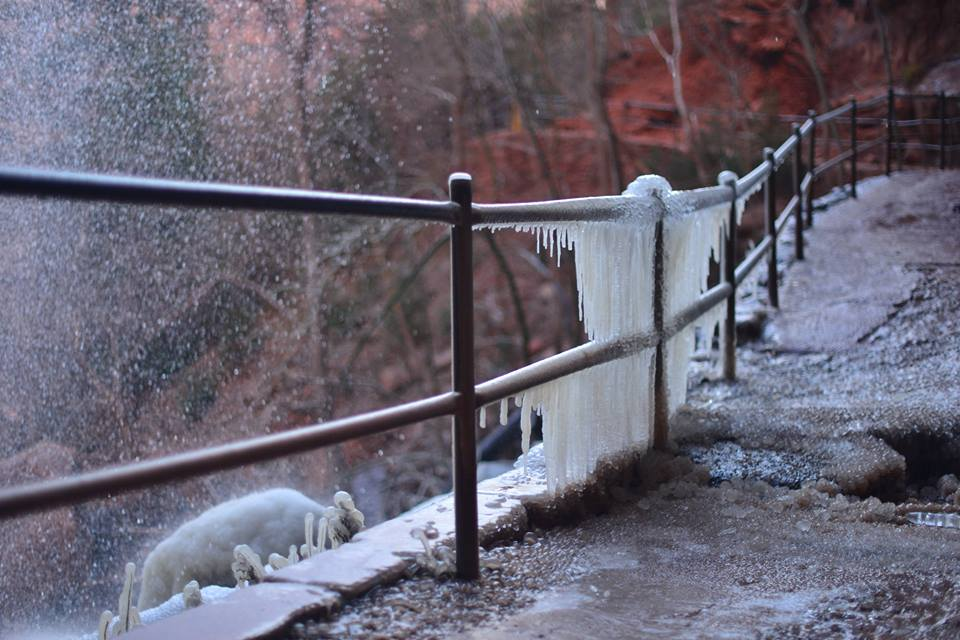Zion National Park warns the public to be cautious of ice on trails and the inherent risk associated with it, especially on trails with permanent water features. This image was shot Sunday, Dec. 18, 2016, at the Emerald Pools trail below the waterfall, Zion National Park | Photo courtesy of Cadence Chinle Cook, Zion National Park via Facebook, Dec. 20, 2016, St. George News