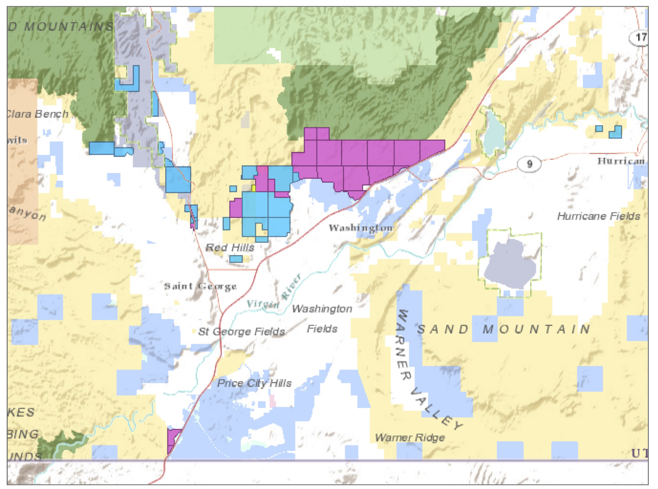 Pink denotes parcels owned by State Institutional Trust Lands that could potentially be transferred to the Bureau of Land Management in a complex trade triggered by the expansion of the Utah Test and Training Range   Image courtesy of SITLA, St. George News