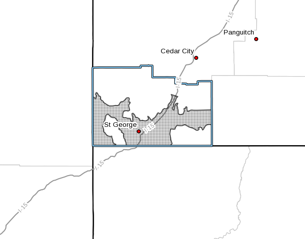 """Dots denote areas subject to the """"Wind Watch"""" issued by the National Weather Service for Washington County, Utah, Dec. 1, 2016 