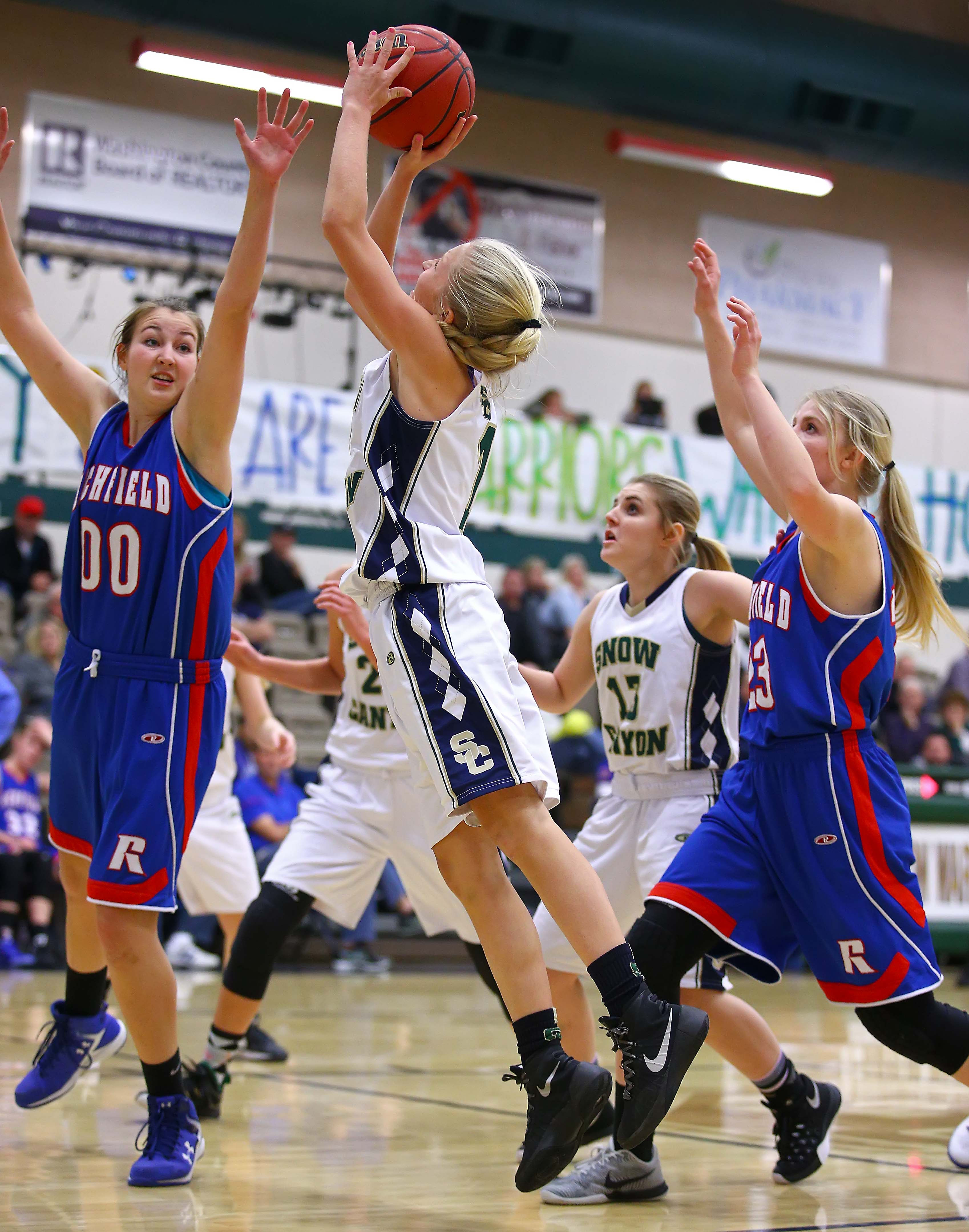 Snow Canyon's Tylei Jensen (1), Snow Canyon vs. Richfield, Girls Basketball, St. George, Utah, Dec. 9, 2016, | Photo by Robert Hoppie, ASPpix.com, St. George News