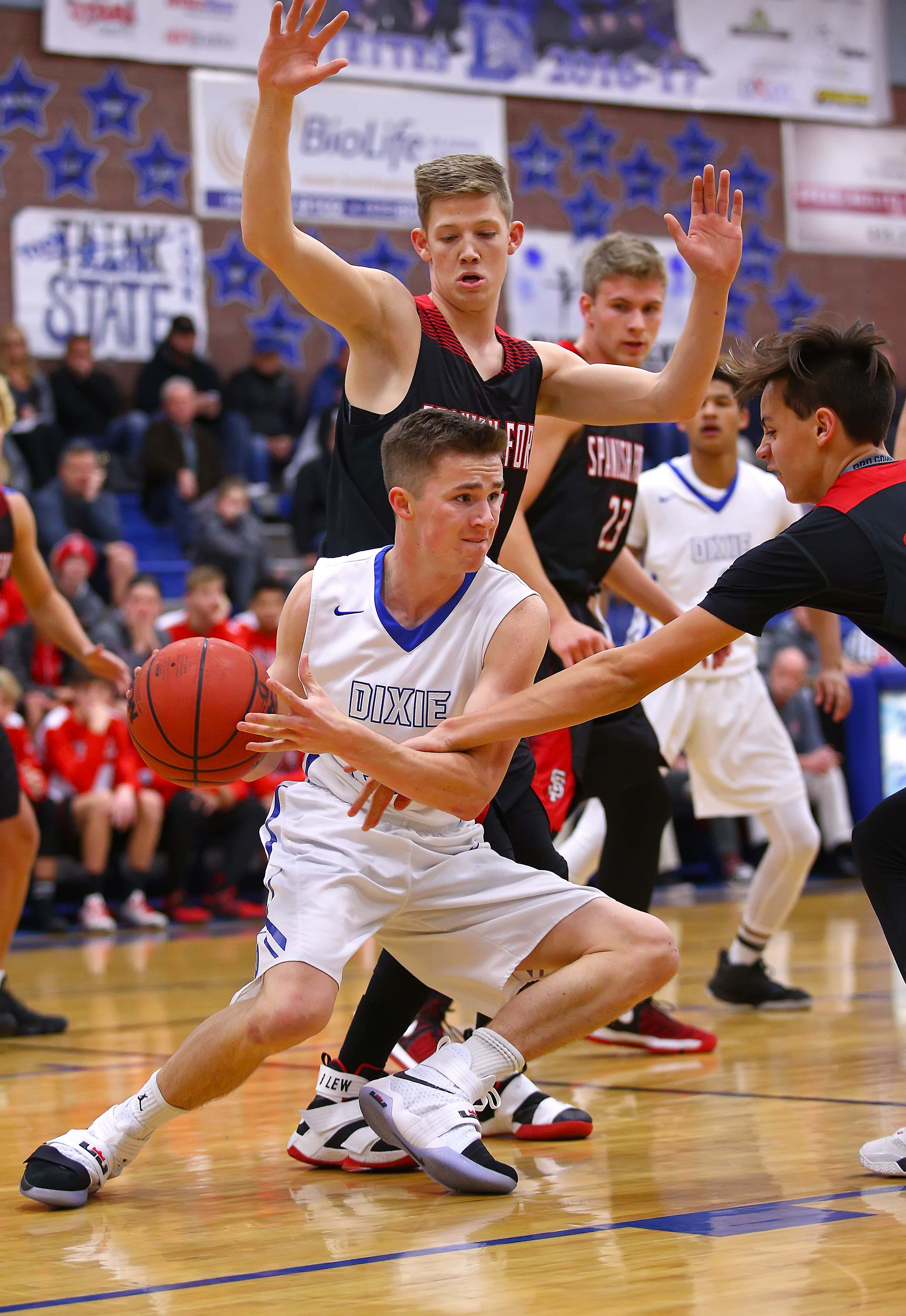 Dixie's Sam Stewart (24), Dixie vs. Spanish Fork, Boys Basketball, St. George, Utah, Dec. 9, 2016, | Photo by Robert Hoppie, ASPpix.com, St. George News