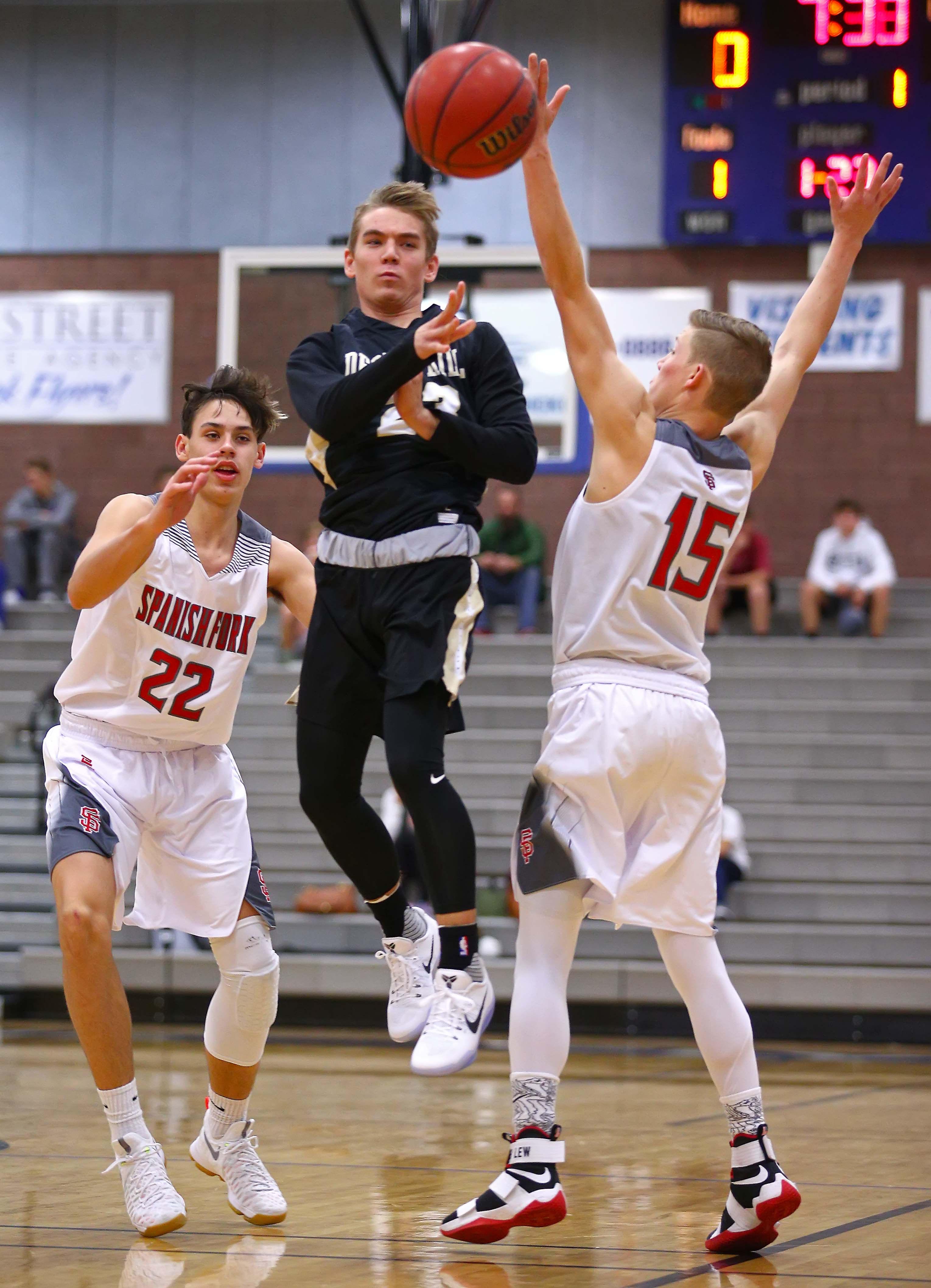 Desert Hills' Logan Hokanson (23), Desert Hills vs. Spanish Fork, Boys Basketball, St. George, Utah, Dec. 10, 2016, | Photo by Robert Hoppie, ASPpix.com, St. George News