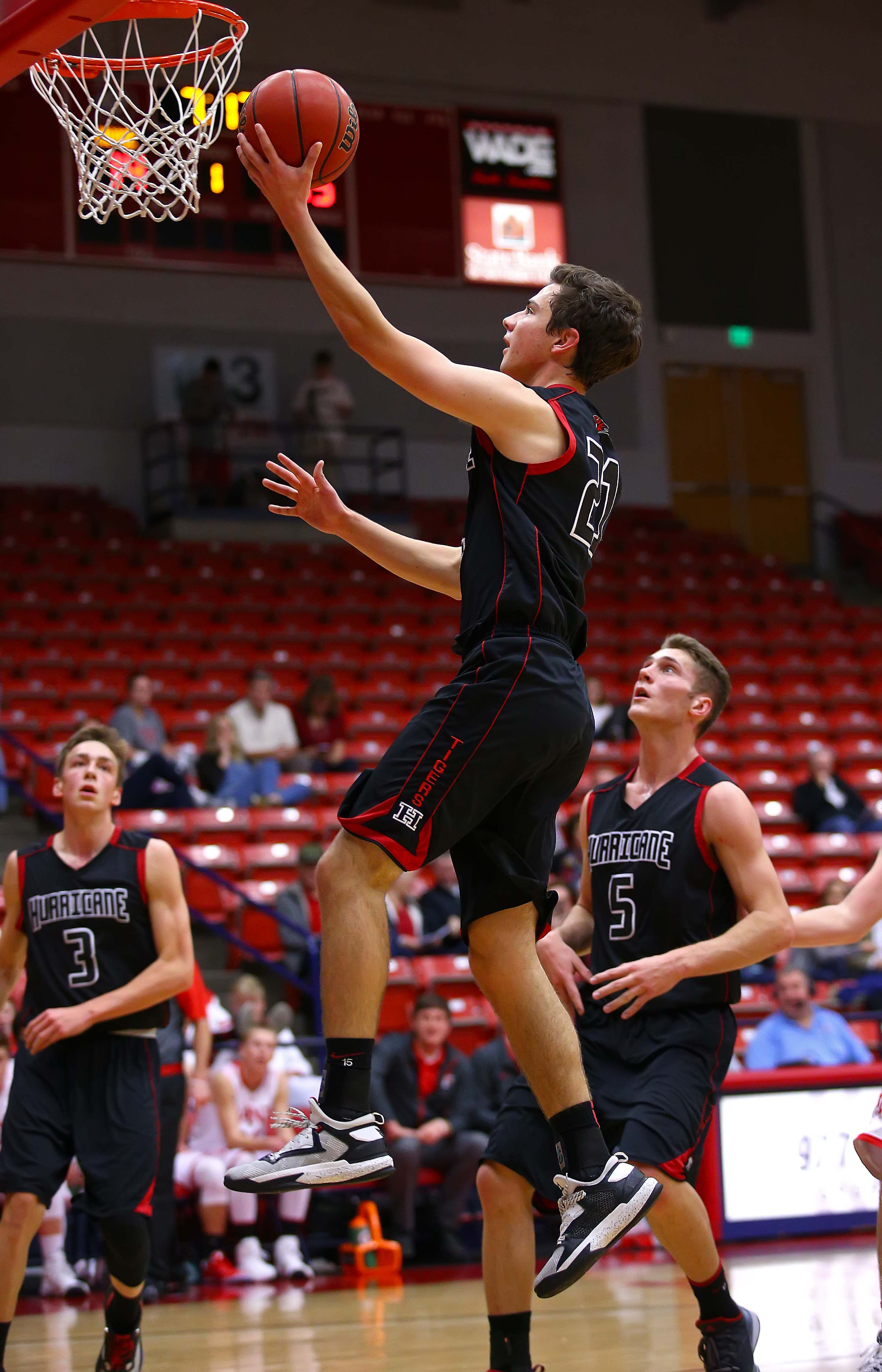 Hurricane's Josh Parker (21), Hurricane vs. Manti, Boys Basketball, St. George, Utah, Dec. 15, 2016, | Photo by Robert Hoppie, ASPpix.com, St. George News