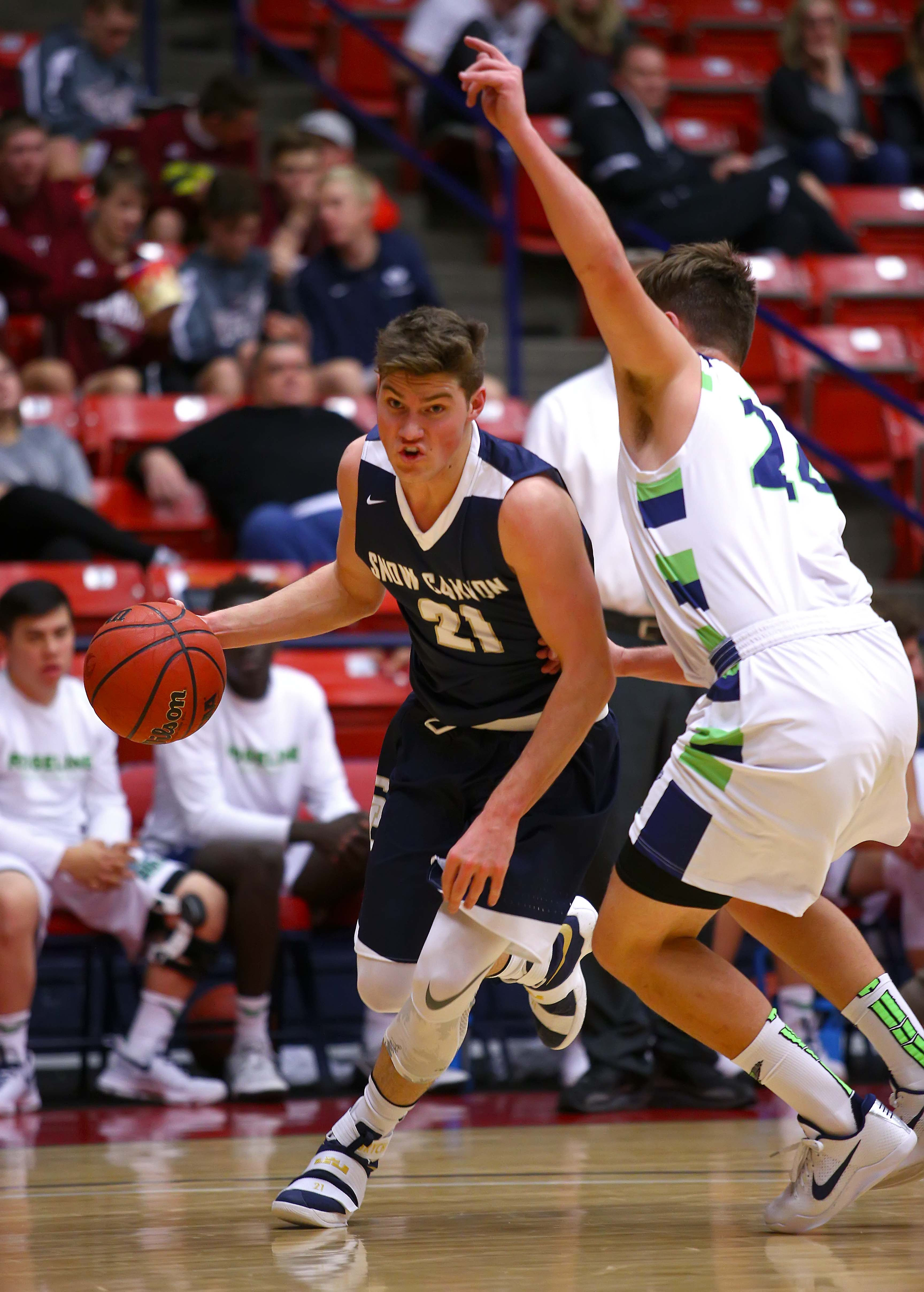 Snow Canyon's Bryson Childs (21), Snow Canyon vs. Ridgeline, Boys Basketball, St. George, Utah, Dec. 16, 2016, | Photo by Robert Hoppie, ASPpix.com, St. George News