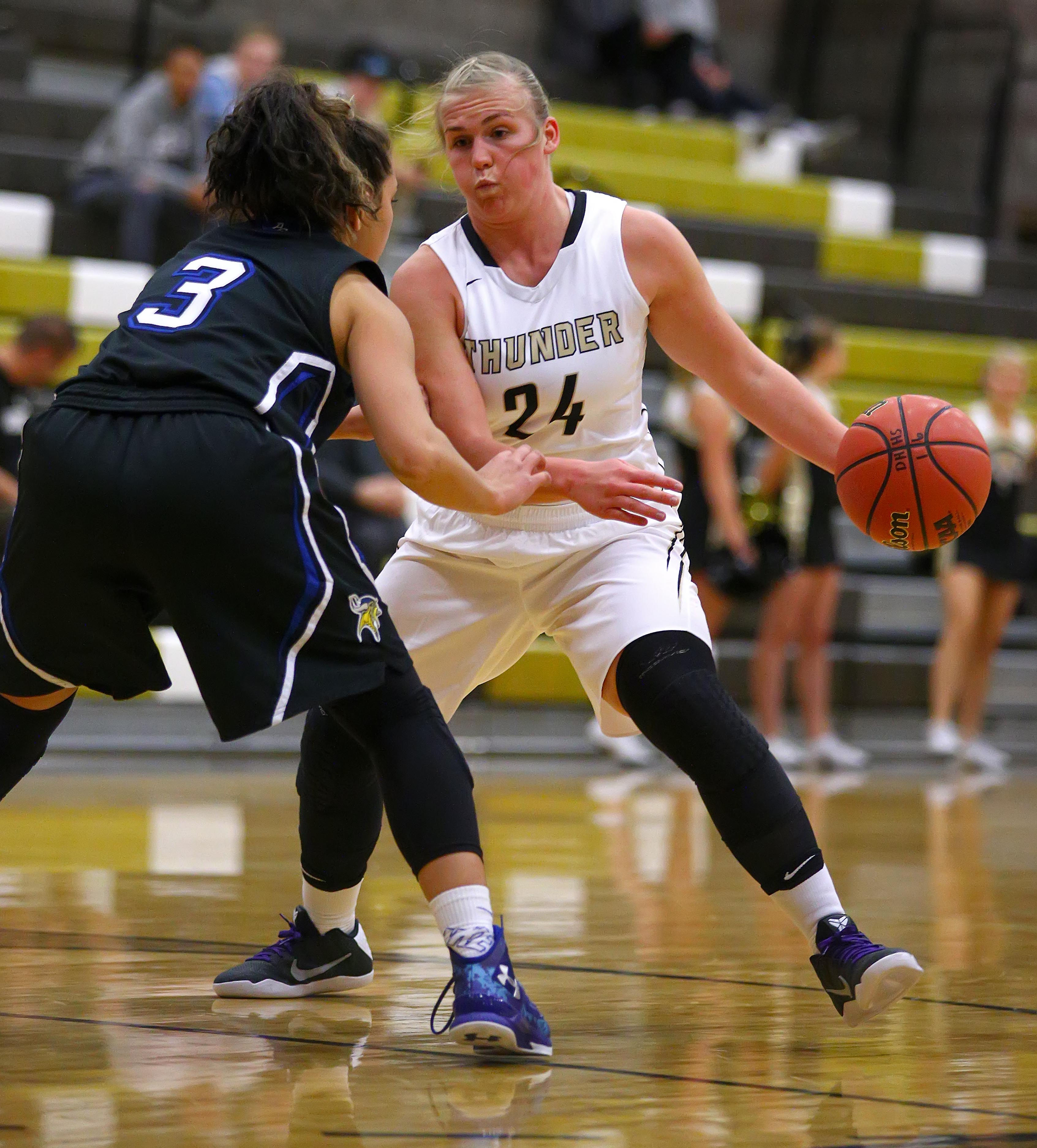 Desert Hills' Ashley Beckstrand (24), Desert Hills vs. Pleasant Grove, Girl's Basketball, St. George, Utah, Dec. 1, 2016, | Photo by Robert Hoppie, ASPpix.com, St. George News