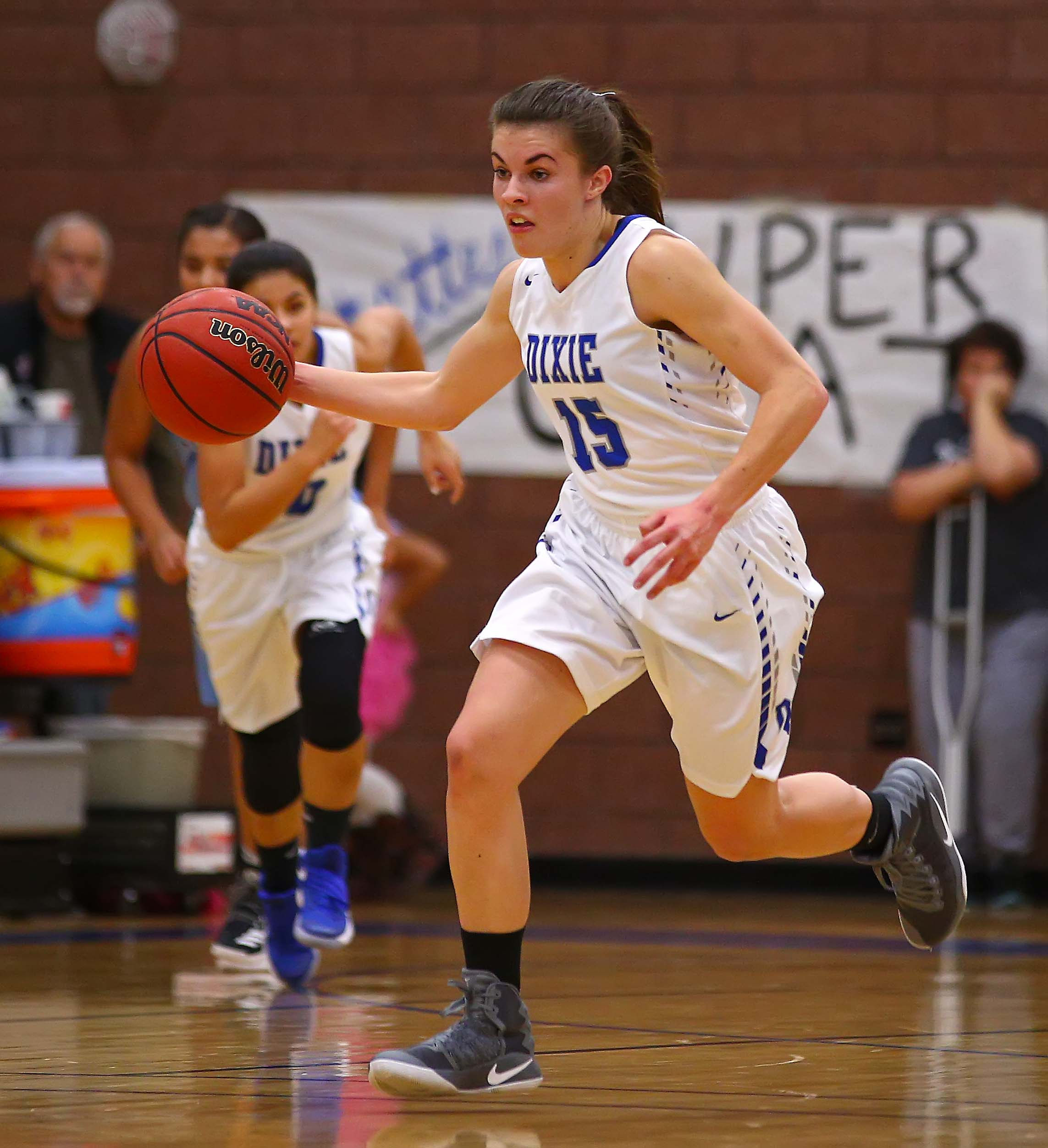 Dixie's Kelsea Barker (15), Dixie vs. Canyon View, Girls Basketball, St. George, Utah, Dec. 20, 2016, | Photo by Robert Hoppie, ASPpix.com, St. George News