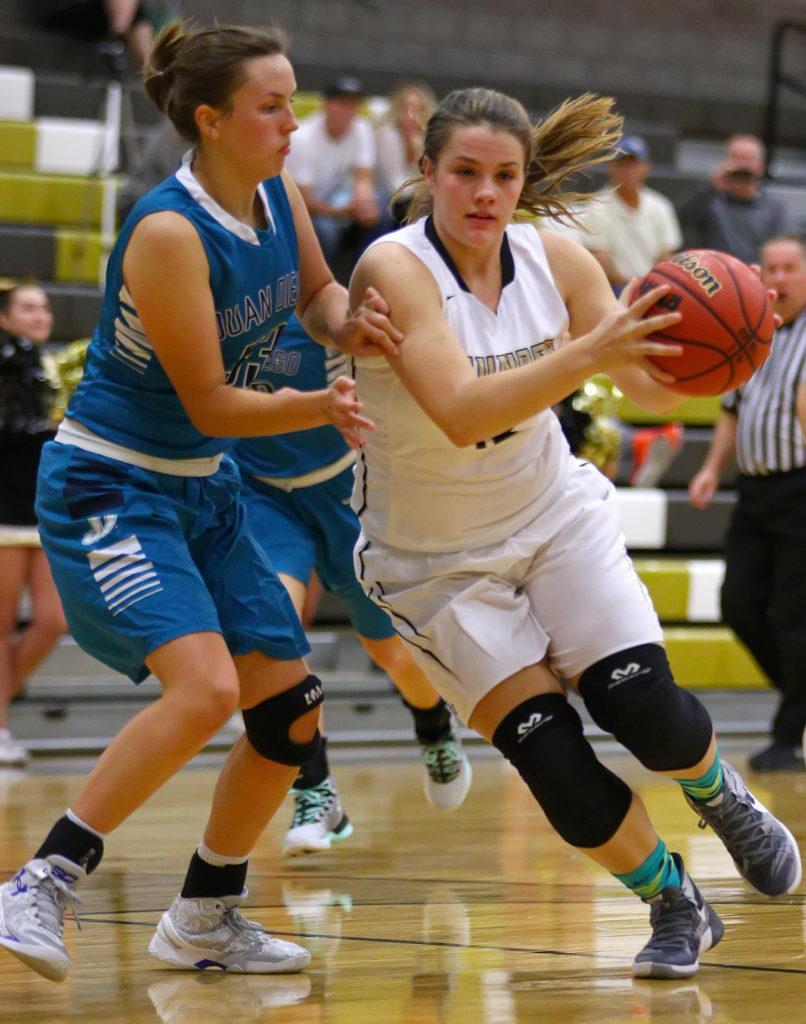 Desert Hills' Elly Williams (12), Desert Hills vs. Juan Diego, Girl's Basketball, St. George, Utah, Dec. 3, 2016, | Photo by Robert Hoppie, ASPpix.com, St. George News
