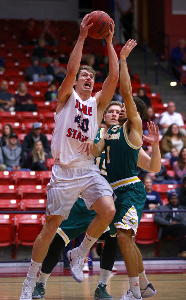 Dixie State's Josh Fuller (40), Dixie State University vs. Concordia University Irvine, Men's Basketball, St. George, Utah, Dec. 3, 2016, | Photo by Robert Hoppie, ASPpix.com, St. George News