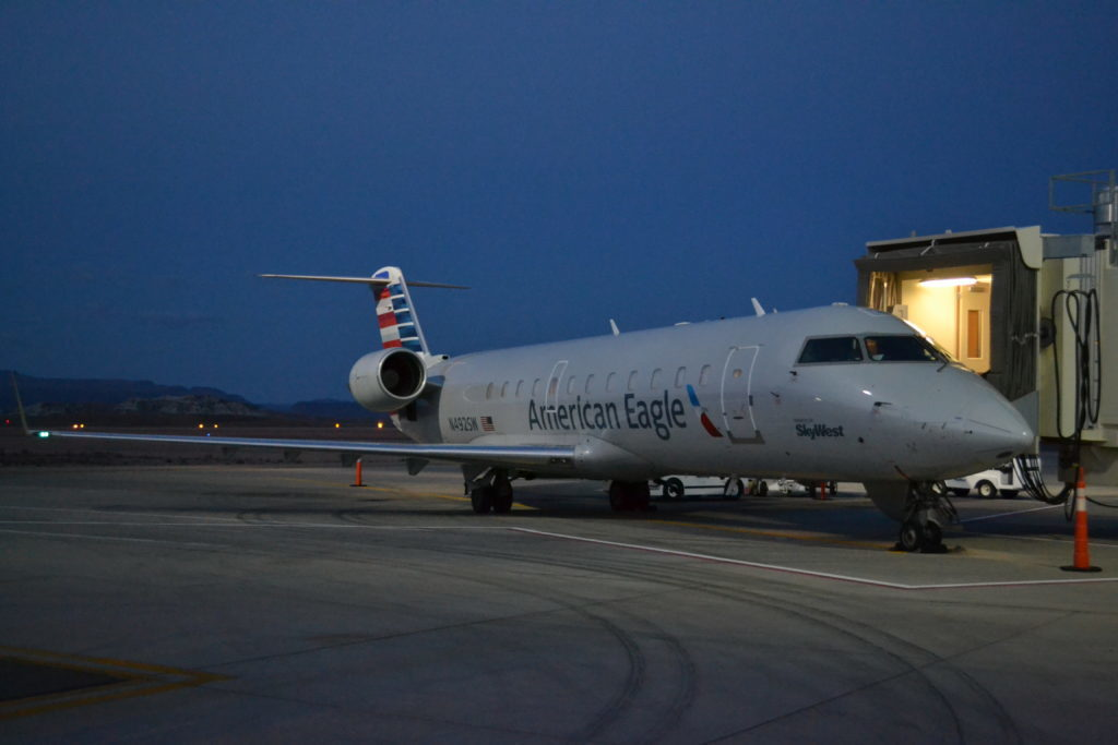 In this November 2016 file photo, a Canadair Regional Jet is prepared for boarding for its inaugural flight to Phoenix, Arizona, St. George Regional Airport, Utah, Nov. 4, 2016 | Photo by Joseph Witham, St. George News