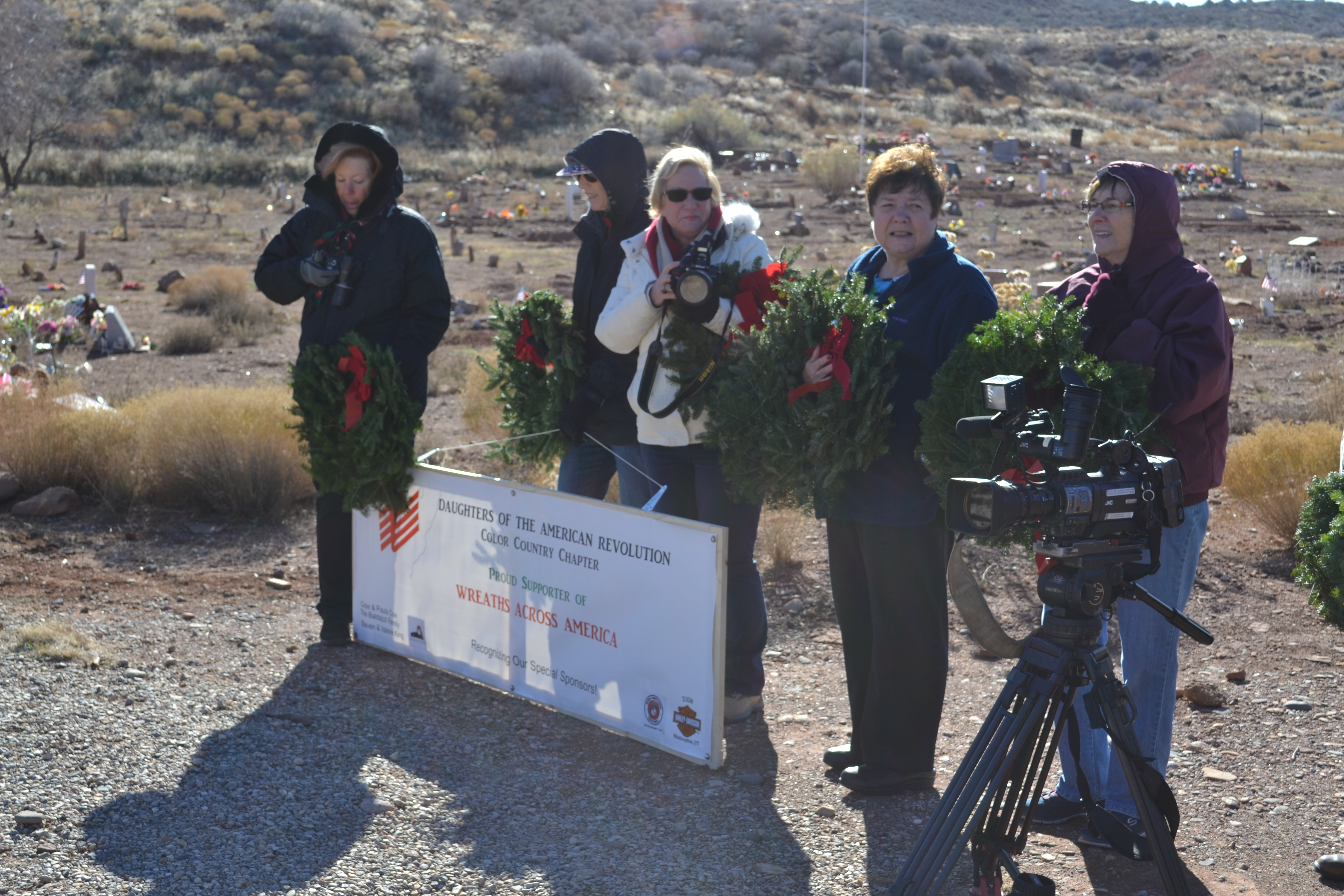 Members of Daughters of the American Revolution participate in a Wreaths Across America ceremony, Shivwits, Utah, Dec. 17, 2016 | Photo by Joseph Witham, St. George News