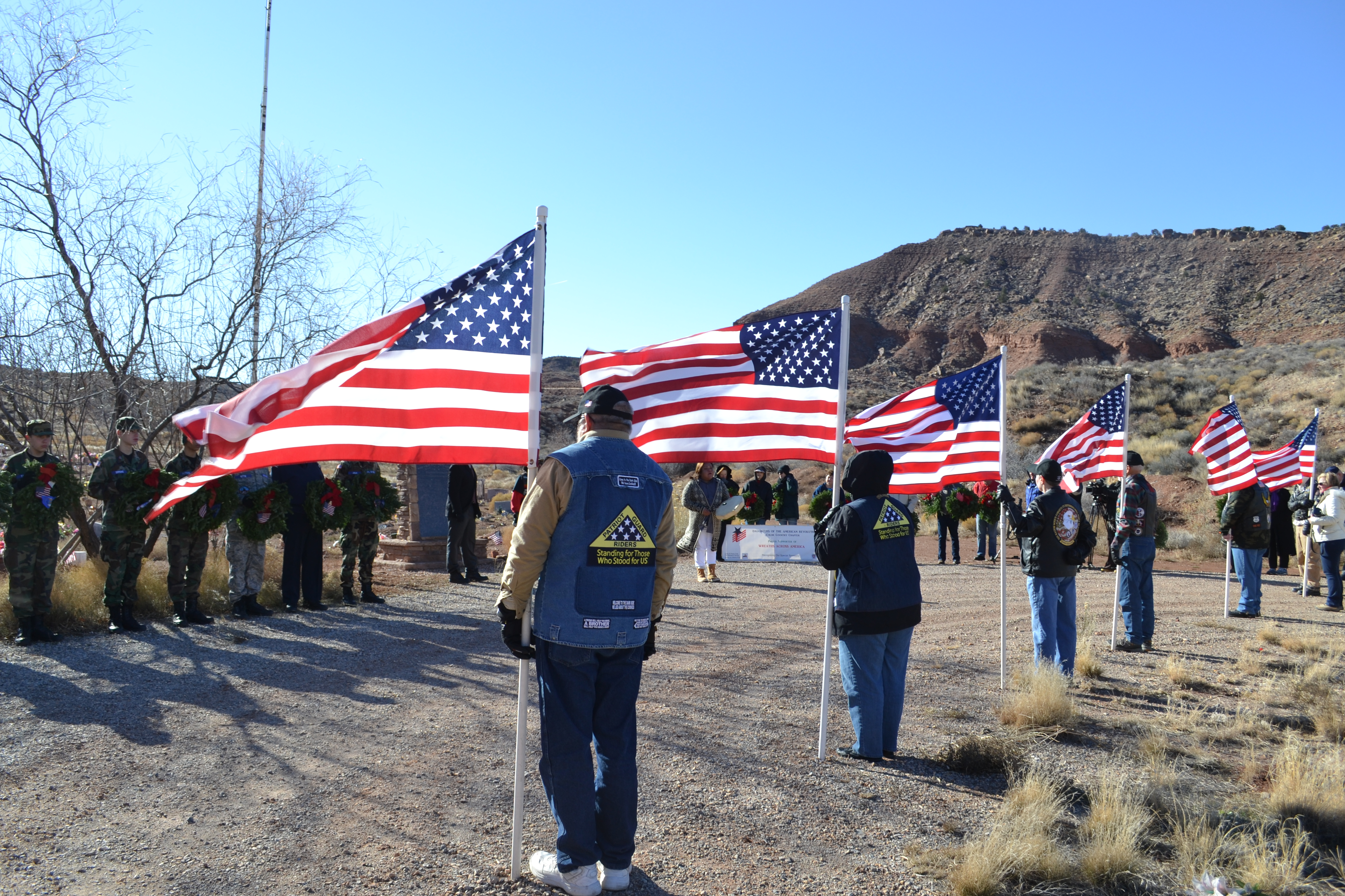 Patriot Guard Riders, St. George Composite Squadron of the Civil Air Patrol and members of the Shivwits Band of Paiutes participate in a Wreaths Across America ceremony, Shivwits, Utah, Dec. 17, 2016 | Photo by Joseph Witham, St. George News