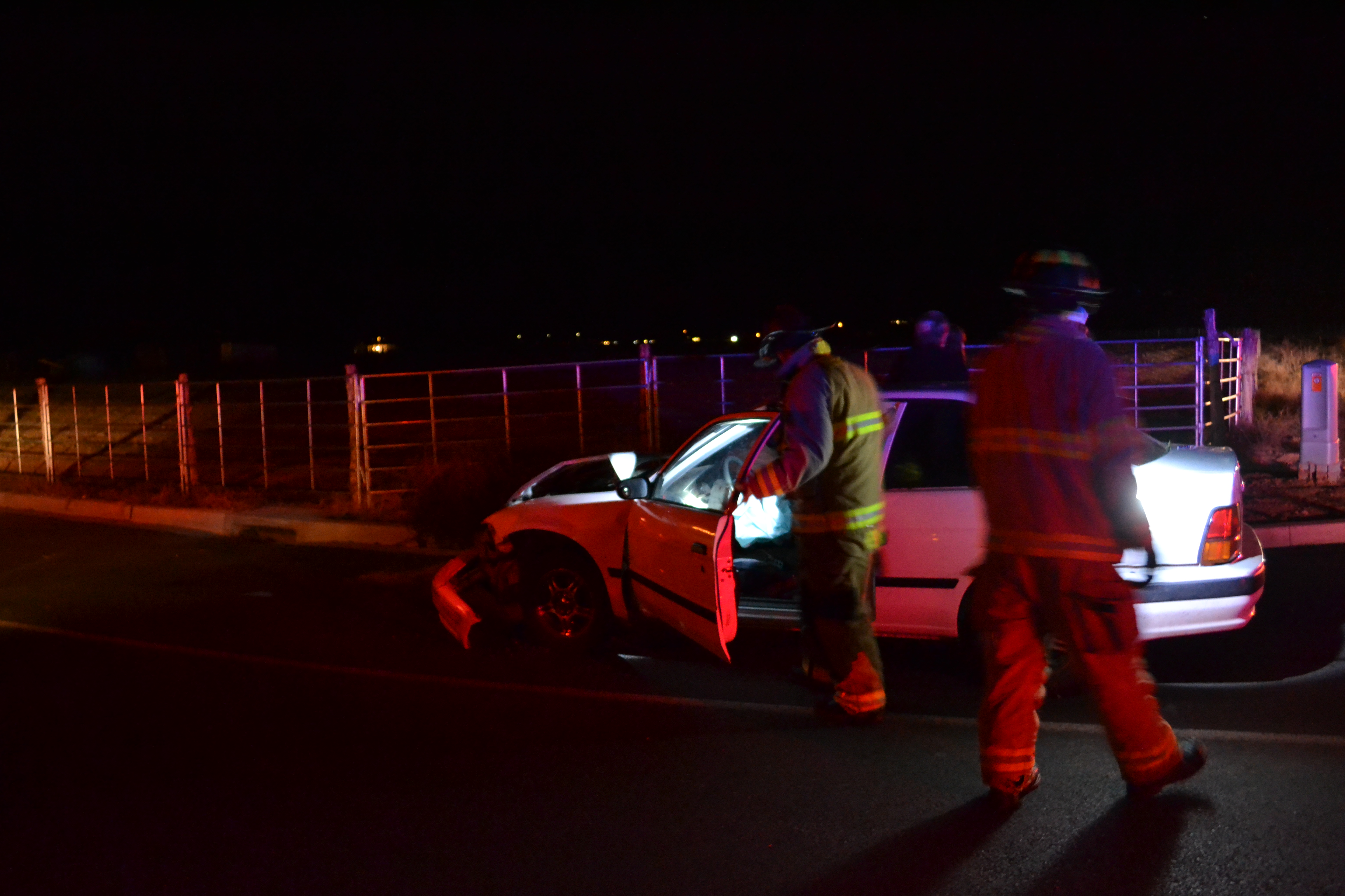 Emergency personnel from Washington Fire prepare to push a car to the side of the road after a collision at the intersection of Washington Fields Road and 3650 South, Washington City, Utah, Dec. 2, 2016 | Photo by Joseph Witham, St. George News