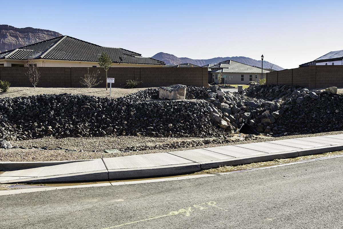 Developer-required green space with boulders in a retainage basin, Washington, Utah, Dec. 21, 2016 | Photo by and courtesy of Jim Lillywhite, St. George News