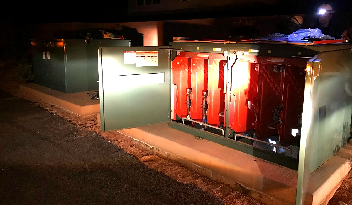 Two new pad mounted switch gear boxes were installed as an emergency repair crew worked into the early morning hours Thursday after a single vehicle crash caused extensive damage on S. 3000 East in St. George, Utah, Dec. 8, 2016 | Photo courtesy of Russell Condie, St. George News