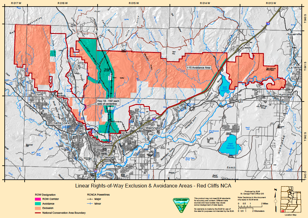 Map of final exclusion and avoidance zones in the Red Cliffs National Conservation Area | Image courtesy of Bureau of Land Management, St. George News