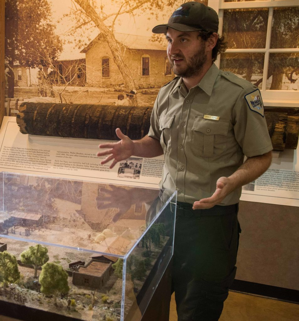 Garrett Fehner, park interpreter, explains the model of the fort, Old Las Vegas Mormon Fort State Historic Park, Las Vegas, Nevada, Nov. 11, 2016 | Photo by and courtesy of Jim Lillywhite, St. George News