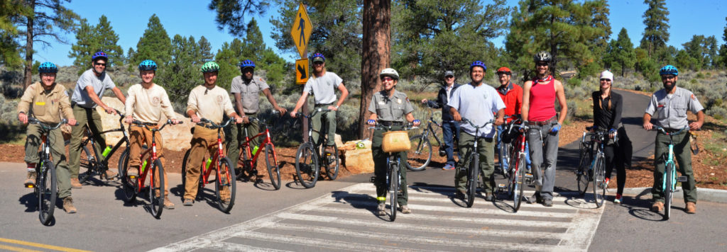 Bike Your Park Day included a dedication, ribbon cutting and inaugural ride of newly paved Tusayan to Grand Canyon Visitor Center Greenway Trail, Grand Canyon, Ariz., Sept. 24, 2016 | National Park Service photo by M.Quinn, St. George News