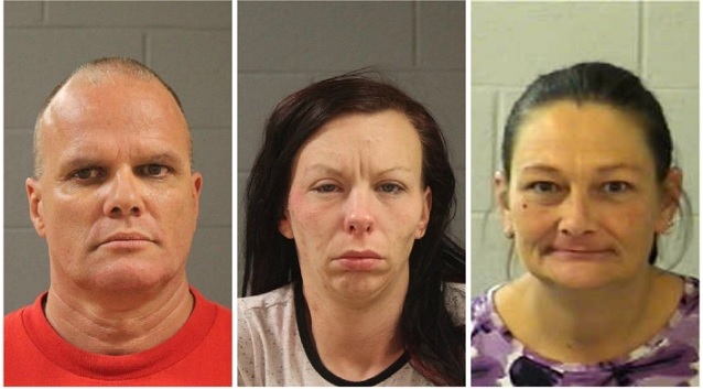 L to R: Francis Lee McCard, Kelley Marie Perry and Tammy Freeman, booking photos posted July 2016 | Photos courtesy of Washington County Sheriff's Office, St. George News