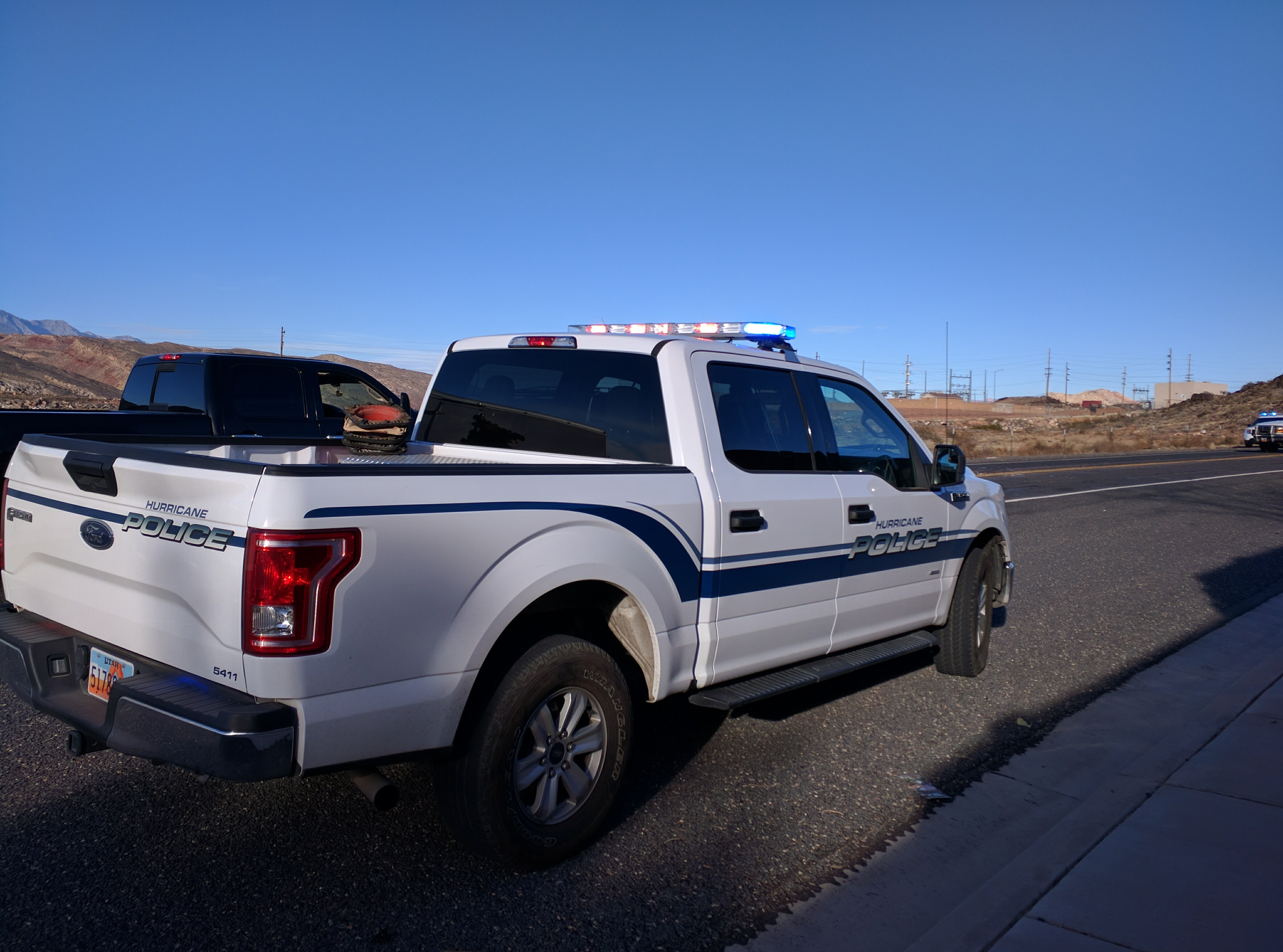 A Hurricane Police unit responds to the scene of a two-car crash on 600 North, Hurricane, Utah, Dec. 9, 2016 | Photo by Joseph Witham, St. George News
