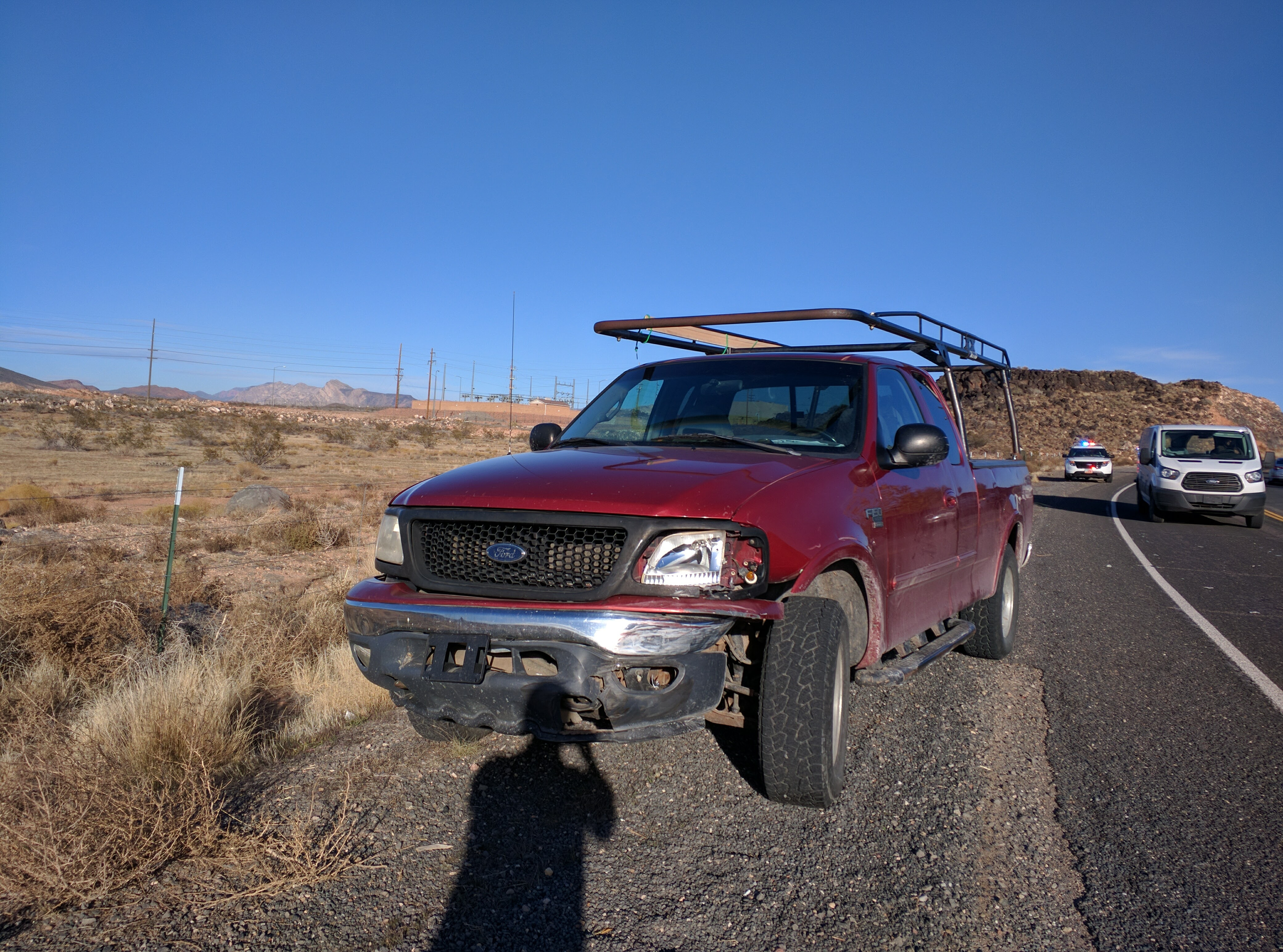 A 2000 red Ford F-150 is minorly damaged after a two-car crash on 600 North, Hurricane, Utah, Dec. 9, 2016 | Photo by Joseph Witham, St. George News