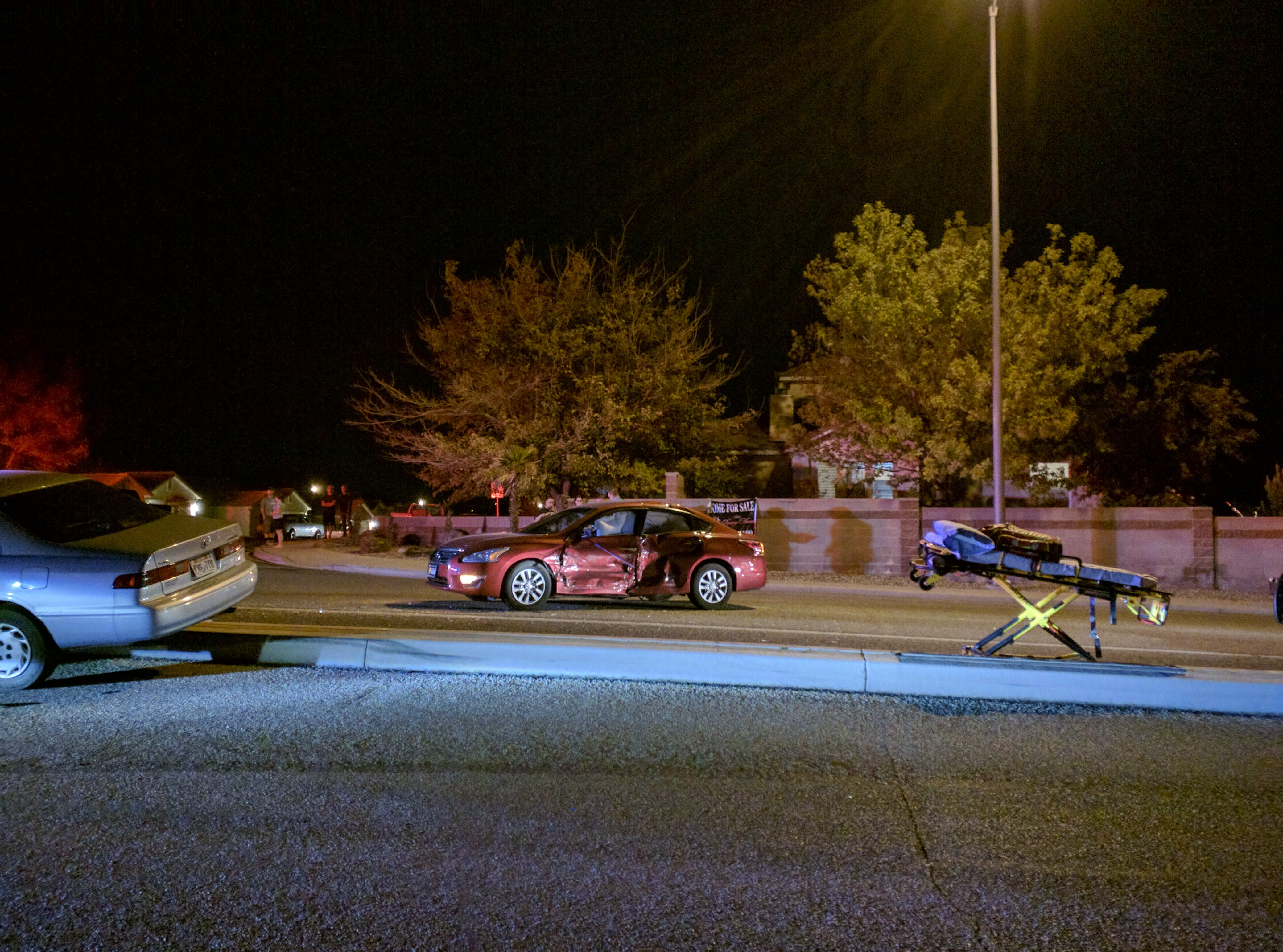 A Nissan Altima is heavily damaged in a collision resulting from a failure to stop at a stop sign, St. George, Utah, Dec. 11, 2016   Photo by Joseph Witham, St. George News