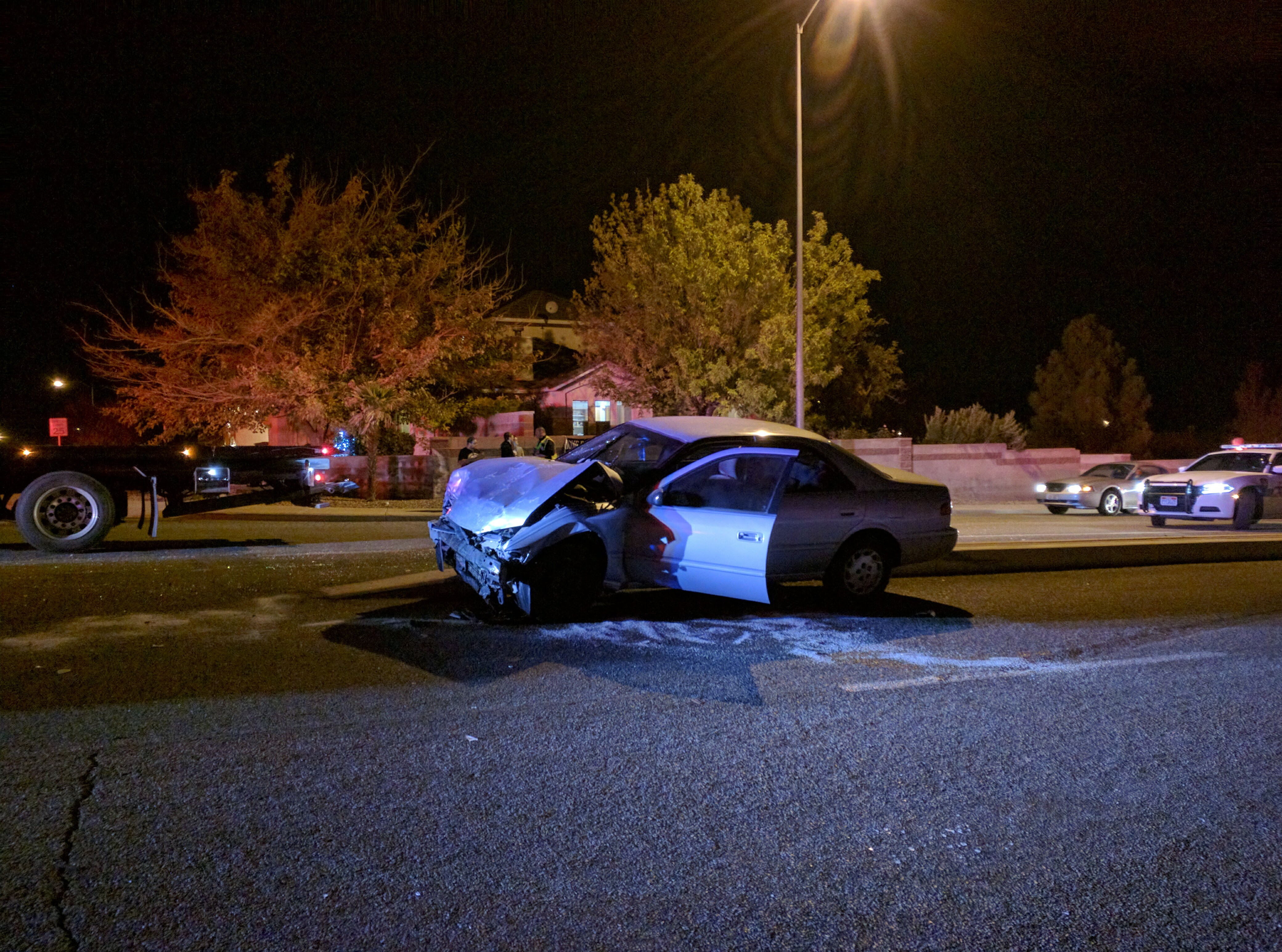 A Toyota Camry is heavily damaged in a collision resulting from a failure to stop at a stop sign, St. George, Utah, Dec. 11, 2016   Photo by Joseph Witham, St. George News