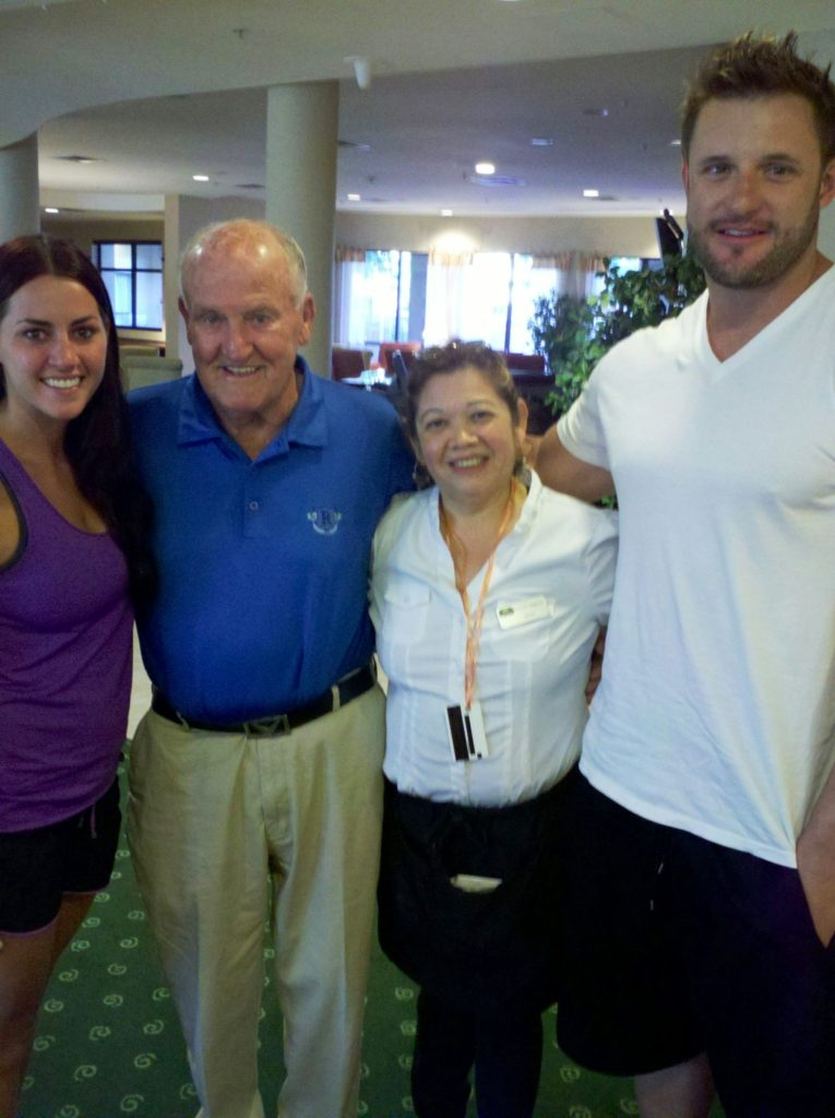 Author Scott Young (far right and his wife Malissa (far left) with LaVell Edwards and an unidentified hotel employee in 2012.