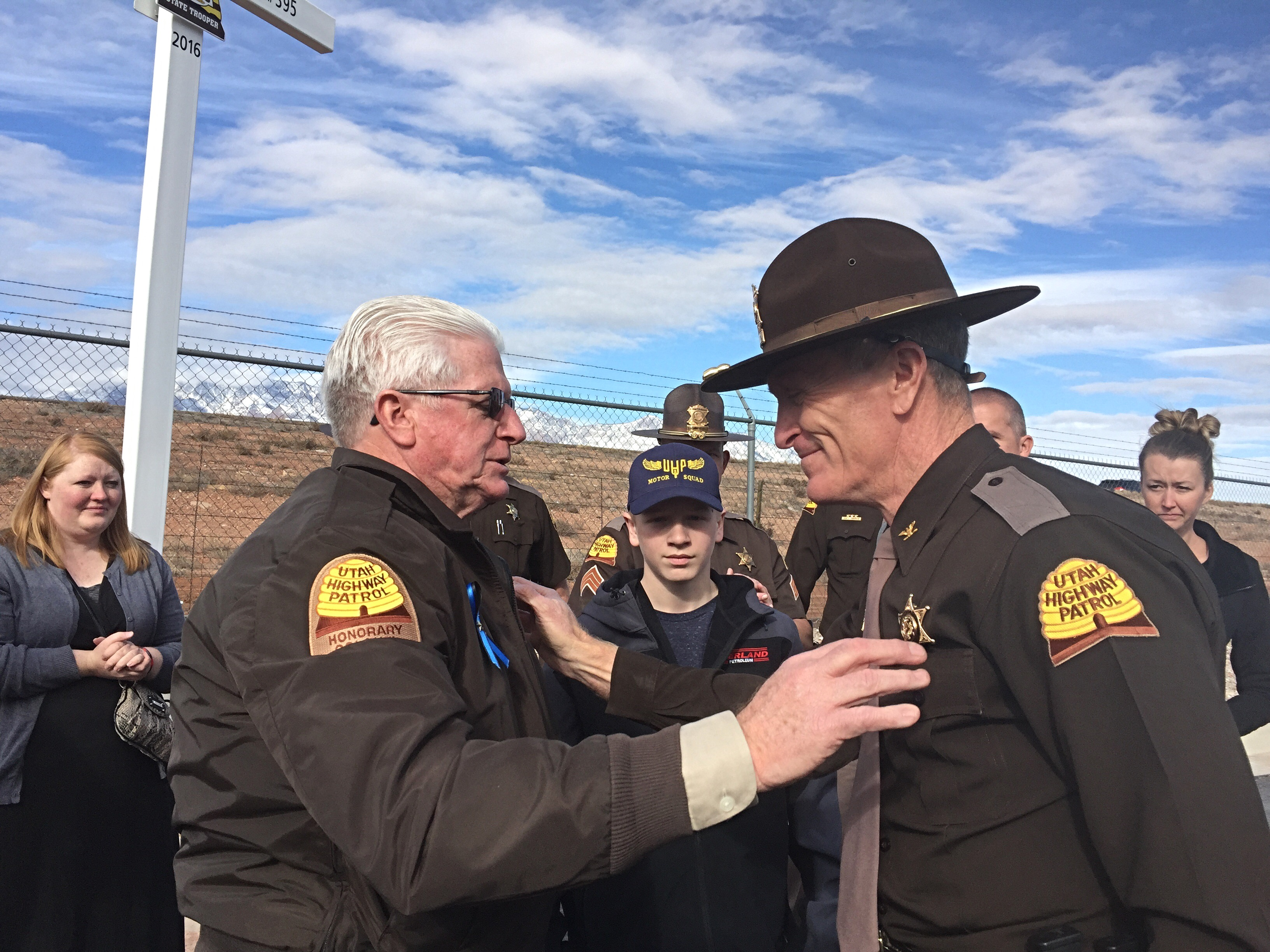 Utah Highway Patrol Col. Michael Rapich thanks Utah Sen. Don Ipson for his support of the Highway Patrol at the site of a memorial for fallen troopers killed in the line of duty, Hurricane, Utah, Dec. 30, 2016 | Photo by Kimberly Scott, St. George News