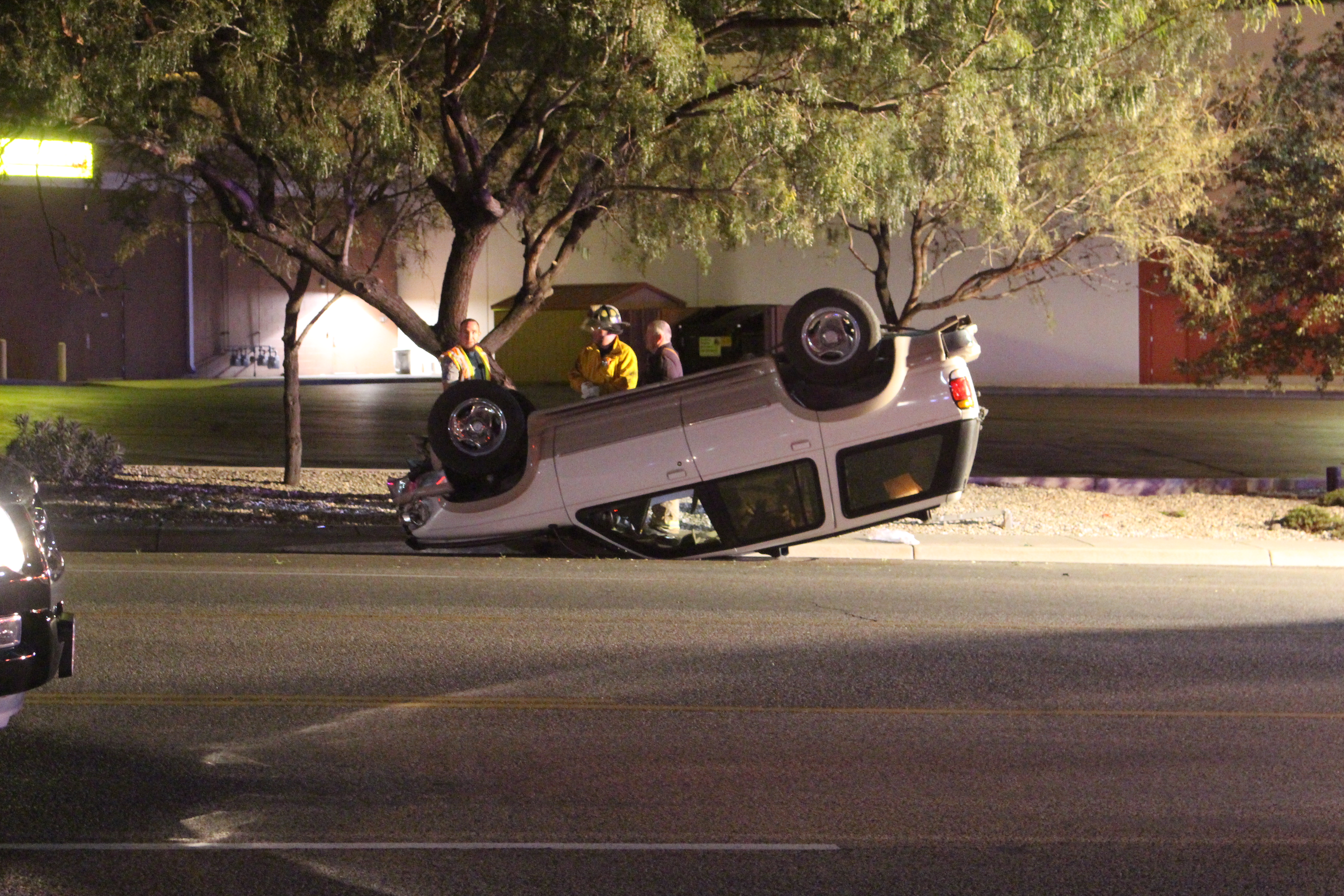 A Ford Explorer sits upside down after its driver slammed into a tree, Washington City, Utah, Dec. 11, 2016   Photo by Joseph Witham, St. George News