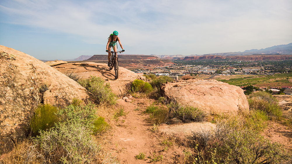 Kathleen Berglund navigates one of the many rock obstacles on the Kentucky Lucky Chicken Trail, St. George, Utah, 2016 | Photo courtesy of Lukas Brinkerhoff, St. George News