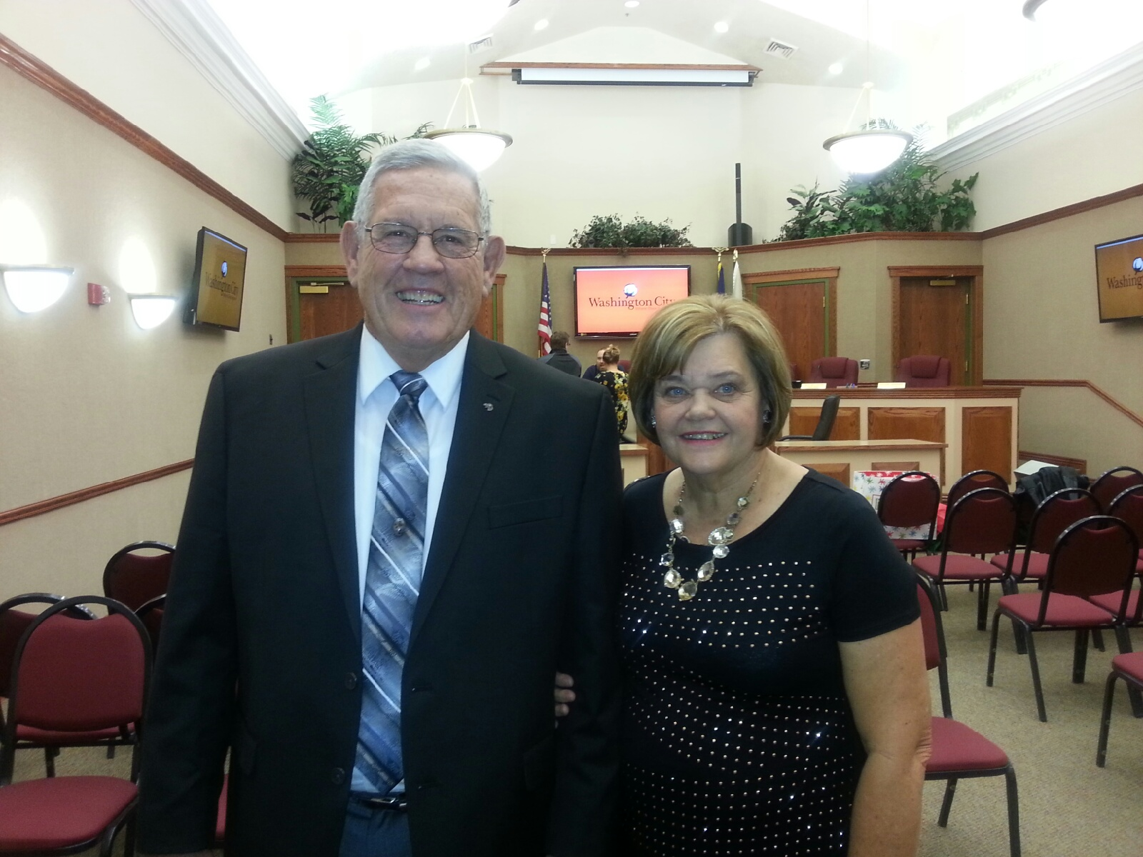 L-R: Lee Bunnell and his wife at the Washington City Offices. Bunnell is retiring as the city's justice court judge at the end of the year and will be succeeded by Thad Seegmiller, Washington City, Utah, Dec. 14, 2016 | Photo courtesu of Shelly Griffin, St. George News