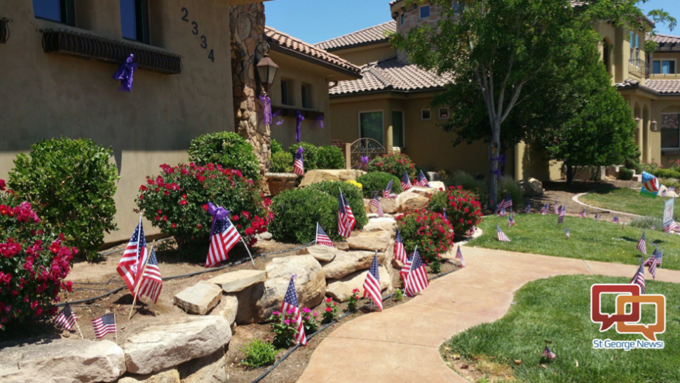 Community members decorated the yard of a home where a 3-year-old drowned in a swimming pool, Santa Clara, Utah, May 31, 2016   Photo courtesy of Lisa Thorpe, St. George News