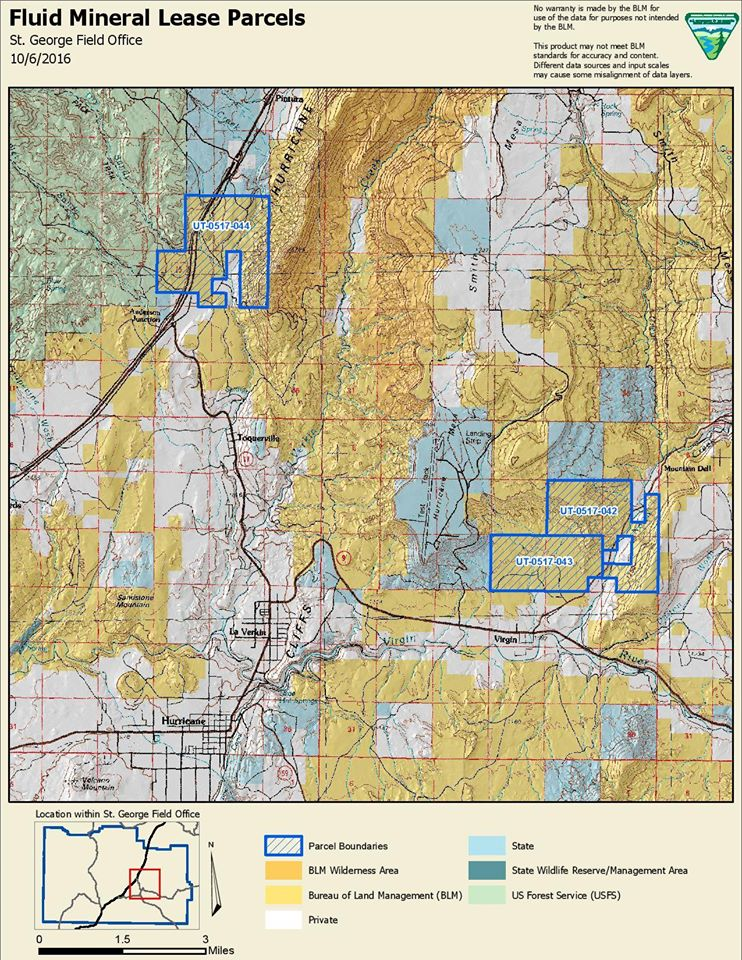 Location of parcels under consideration for oil and gas lease sale in May 2017. Two parcels north of Leeds are not shown on map | Image courtesy of Bureau of Land Management via Southern Utah Issues.