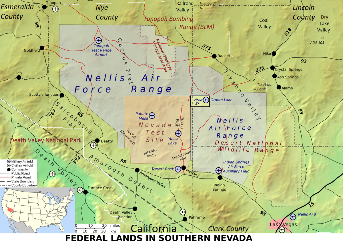 Topographic map of federal lands in southern Nevada, including: Nellis Air Force Base, Area 51, Tonopah Test Range, Yucca Mountain, Mercury, Nevada Test Site, Nellis Air Force Range and Desert National Wildlife Range | Image courtesy of Finlay McWalter via Wikimedia Commons, St. George News