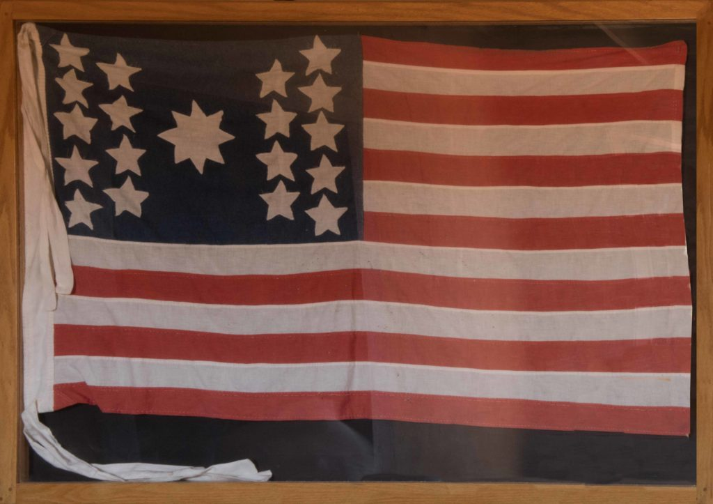 Reproduction of the original first flag made from a red flannel shirt and blue jeans flown at Old Las Vegas Mormon Fort State Historic Park, Las Vegas, Nevada, Nov. 11, 2016 | Photo by and courtesy of Jim Lillywhite, St. George News