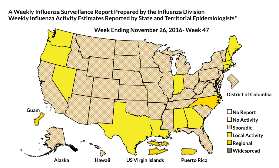 Weekly influenza activity in the United States | Image courtesy of Centers for Disease Control, St. George News