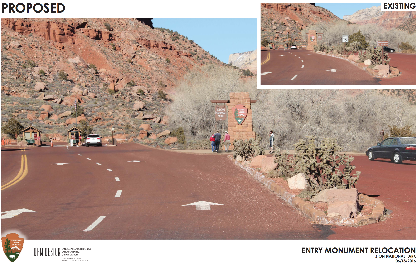 This simulation shows what a reconfiguration of the monument at the south entrance to Zion National Park, Utah, may look like. Simulation dated June 13, 2016 | Image courtesy of Zion National Park, St. George News