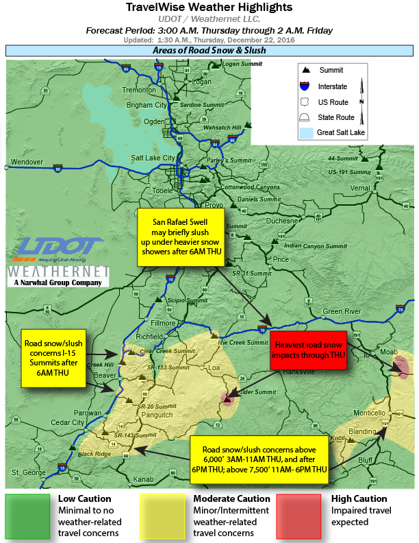 Utah Department of Transportation travel highlights show road snow and slush from 3 a.m. Thursday through 2 a.m. Friday | Image courtesy of UDOT, see webpage for updates, St. George News