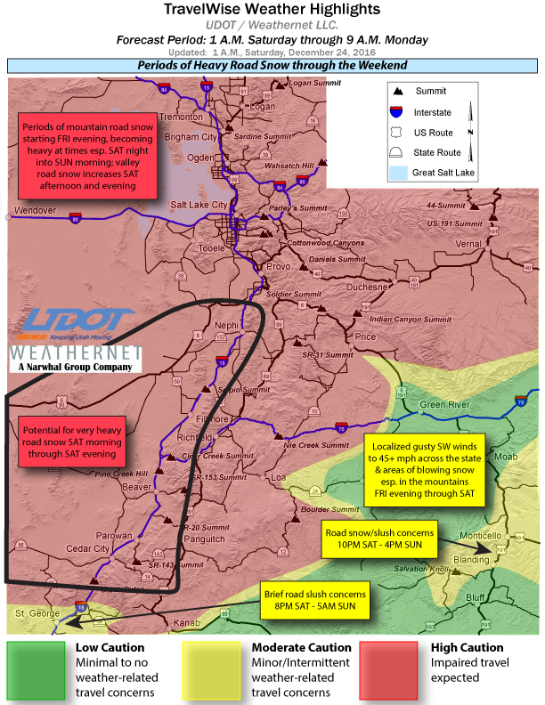 TravelWise weather highlights map issued by Utah Department of Transportation at 1 a.m. Saturday, Utah, Dec. 24, 2016 | Map courtesy of UDOT, St. George News | See UDOT's webpage for road specific details | Click on image to enlarge