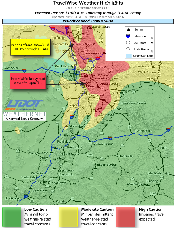 This map shows weather highlights for the period 11 a.m. Thursday to 9 a.m. Friday, as posted Dec. 8, 2016 | Map courtesy of Utah Department of Transportation, St. George News