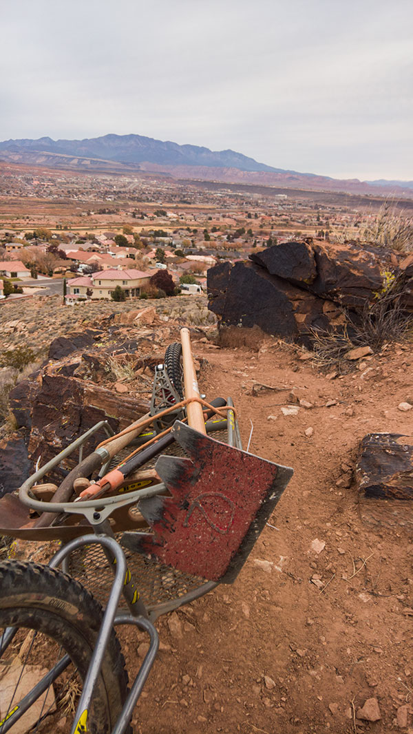 Part of building the trail is getting the tools to and from the dig site. Kentucky Lucky Chicken Trail, St. George, Utah, 2016 | Photo courtesy of Lukas Brinkerhoff, St. George News