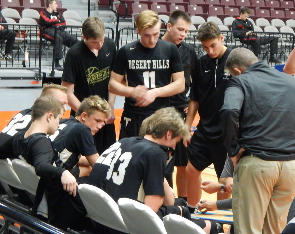 Coach Wade Turley talks with his team, Desert Hills vs. Grantsville, 3A Preview, Richfield, Utah, Dec. 3, 2016 | Photo by Andy Griffin, St. George News