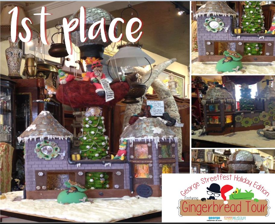 "The 1st place winner in the 2016 ""Gingerbread Tour"" as part of George Streetfest was Main Street Antiques, date not specified 